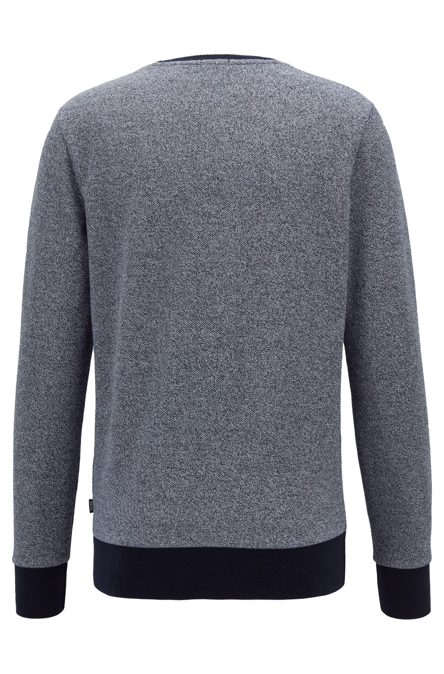 Slim-fit sweater in mesh-structured cotton, Dark Blue