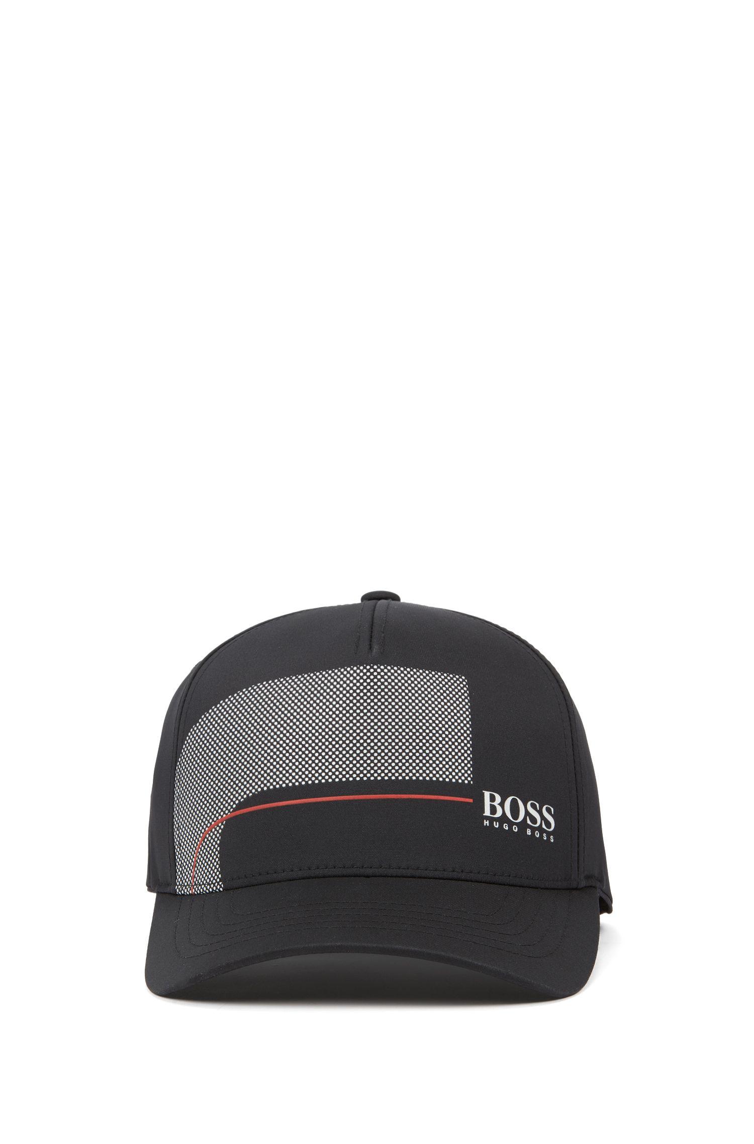 Short-visor cap in stretch micro twill, Black