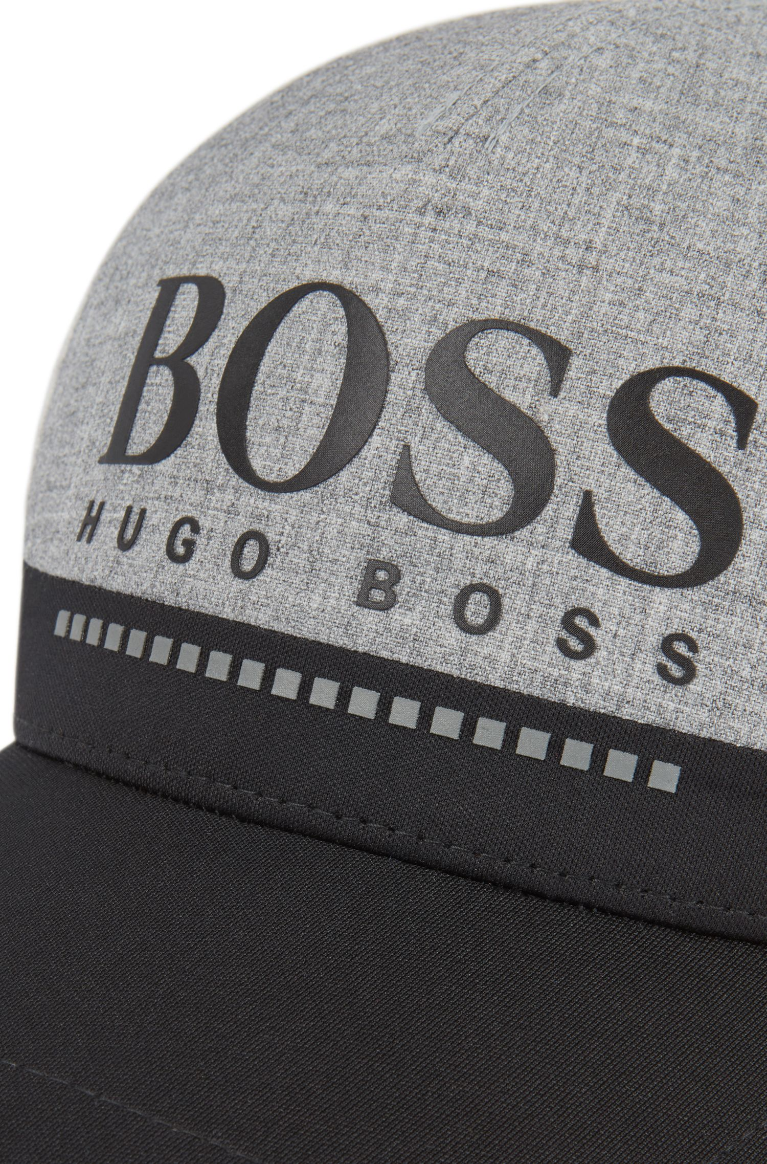 Rubber-print logo cap in technical melange jersey, Light Grey