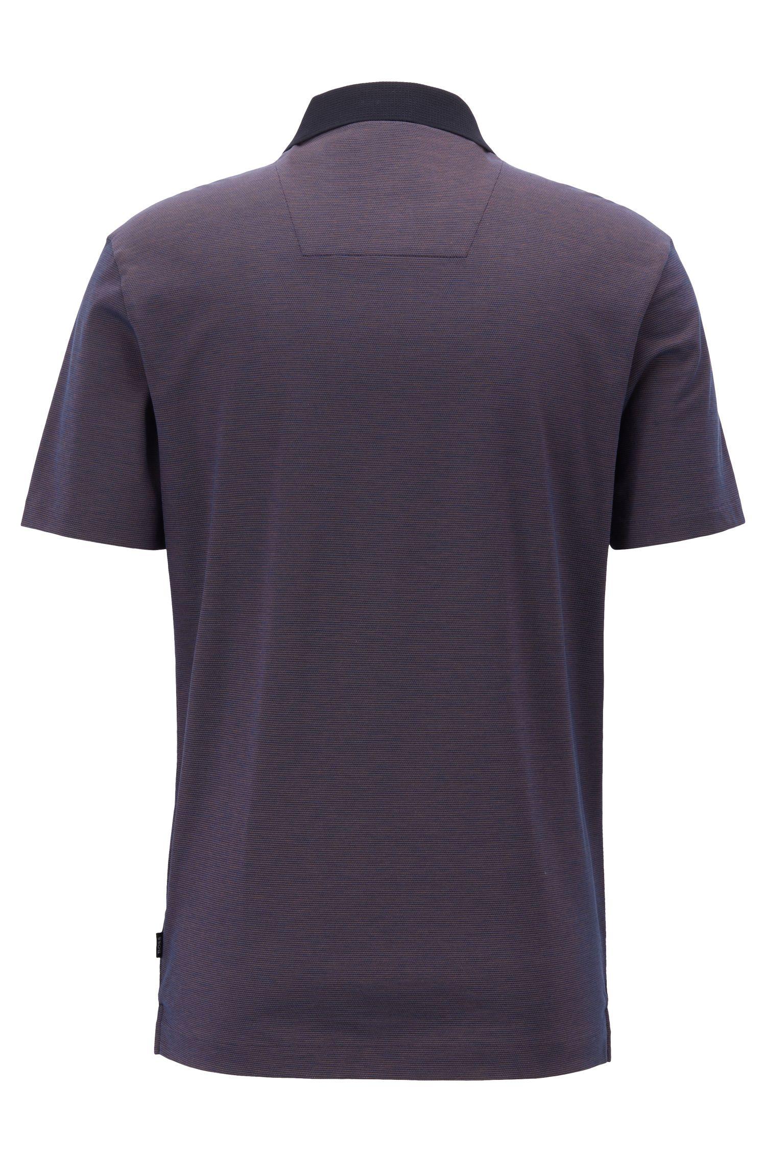 Regular-fit polo shirt in micro-pattern mercerized cotton, Dark Blue