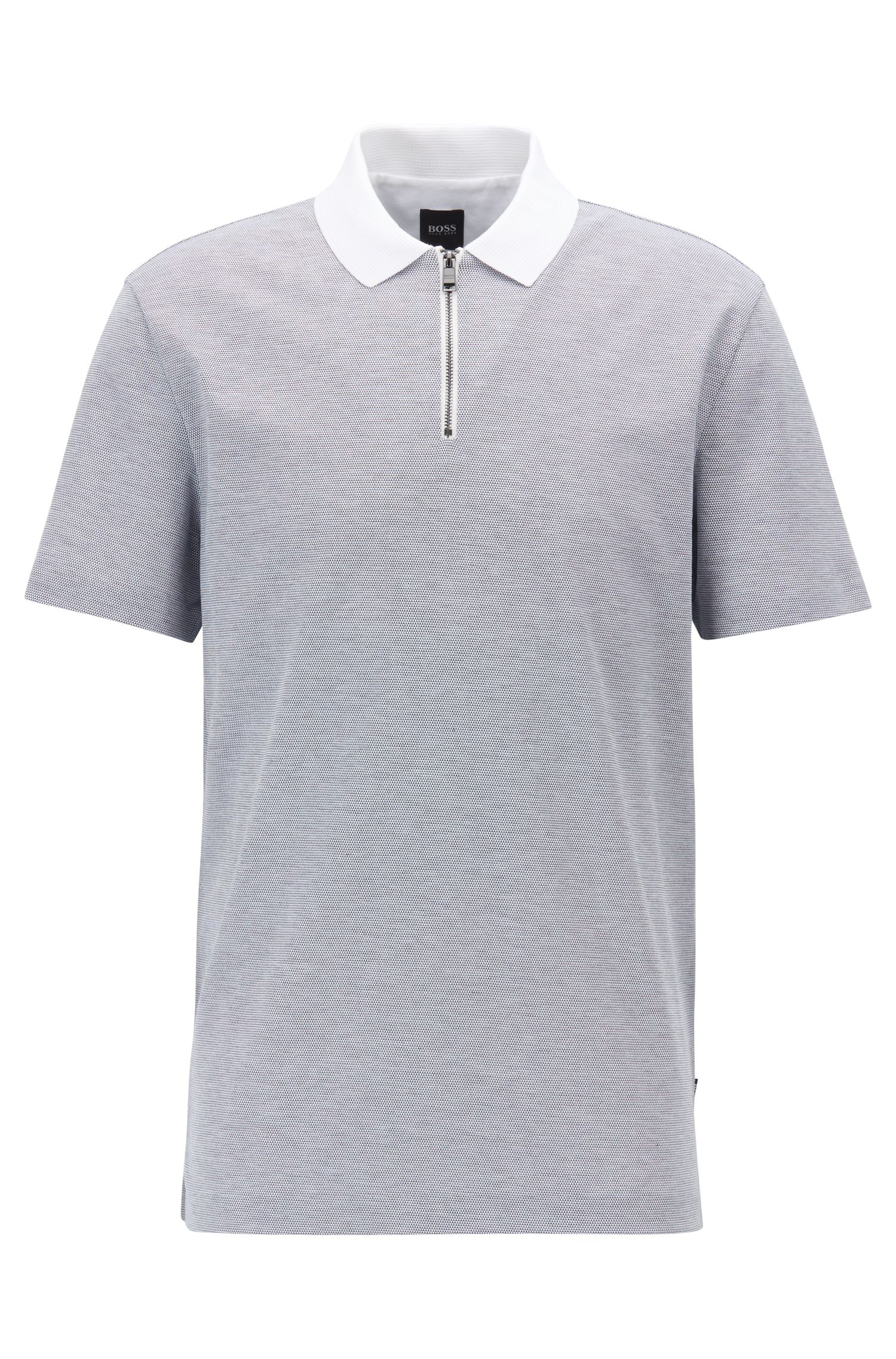 Regular-fit polo shirt in micro-pattern mercerized cotton, Light Blue