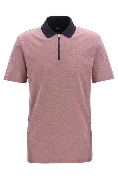 Regular-fit polo shirt in micro-pattern mercerized cotton, Red