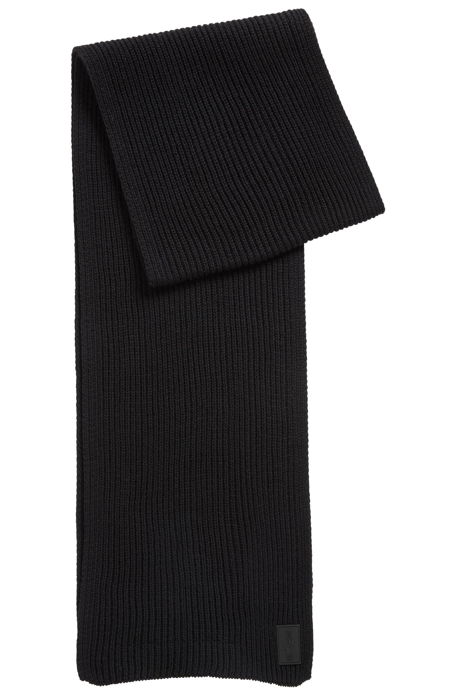 Limited-edition scarf in pure wool with Jeremyville badge, Black