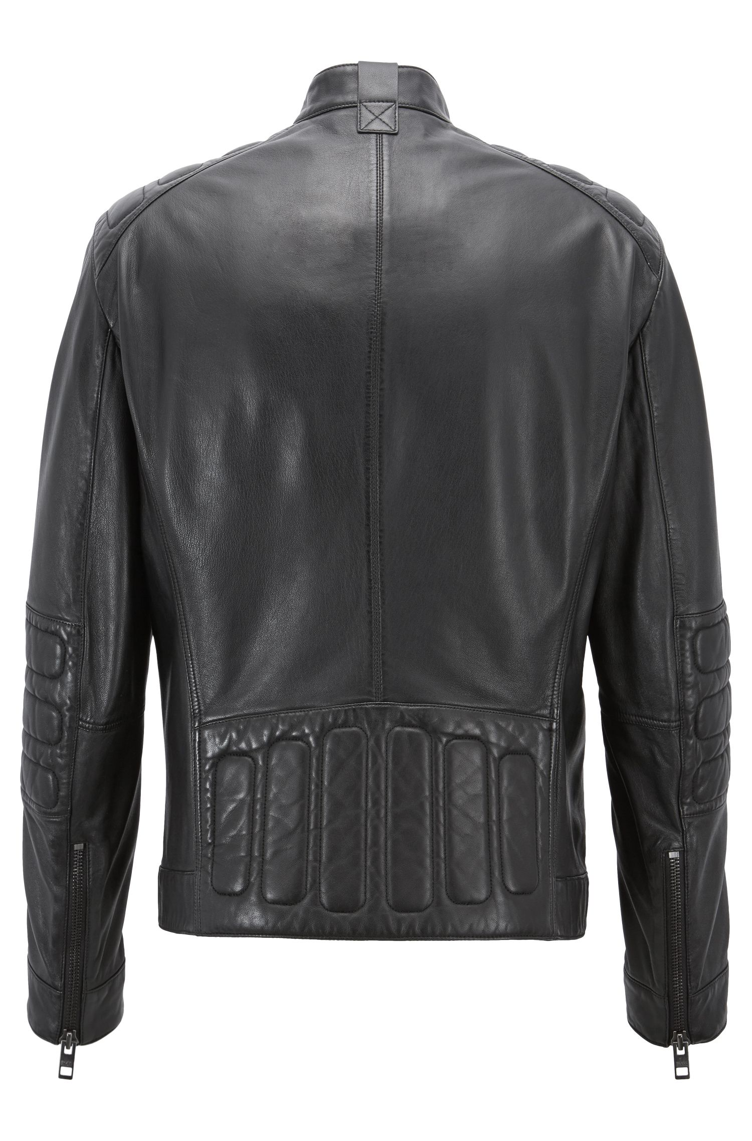 Slim-fit biker jacket in lightly waxed leather, Black