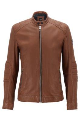 Slim-fit biker jacket in lightly waxed leather, Khaki