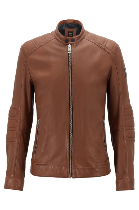 Slim-fit biker jacket in lightly waxed leather, Khaki
