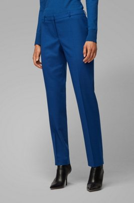 Cropped slim-fit pants in stretch-wool flannel, Blue