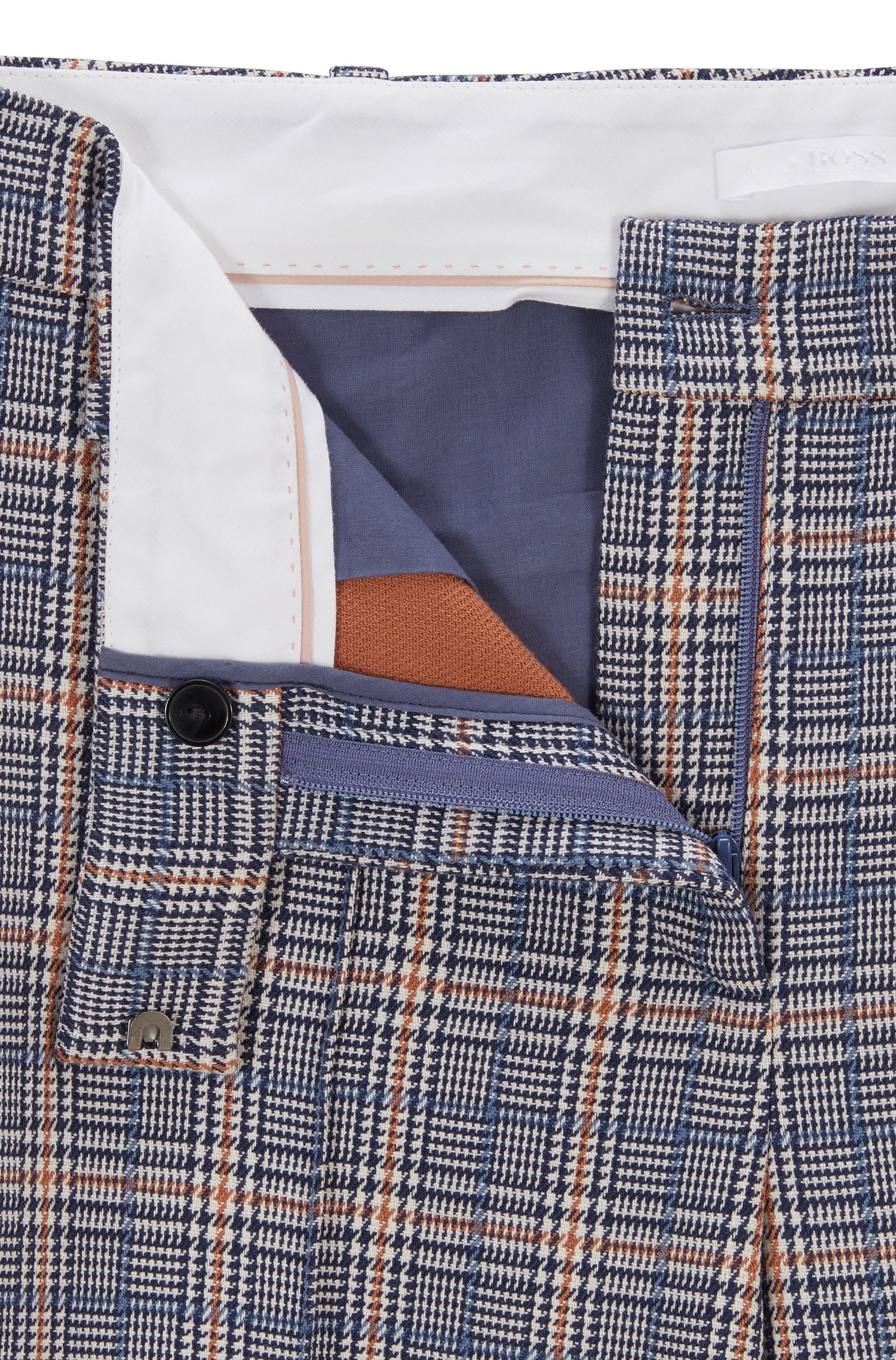 Relaxed-fit pants in a checkered stretch-cotton blend, Patterned