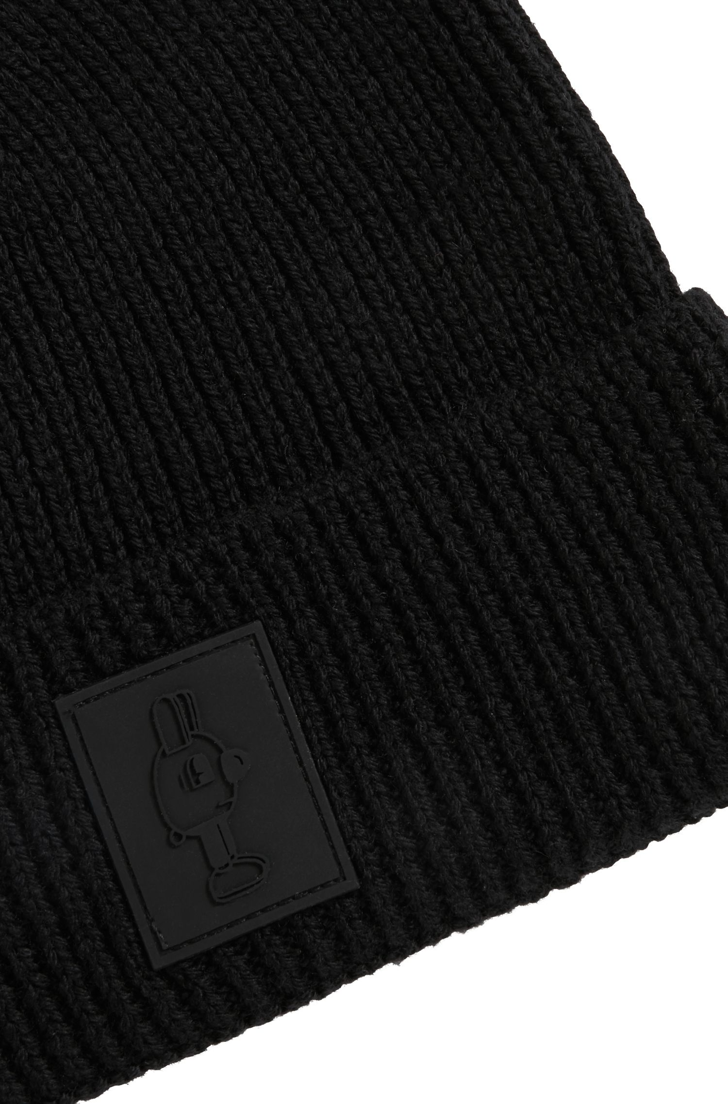 Limited-edition wool beanie hat with Jeremyville badge, Black