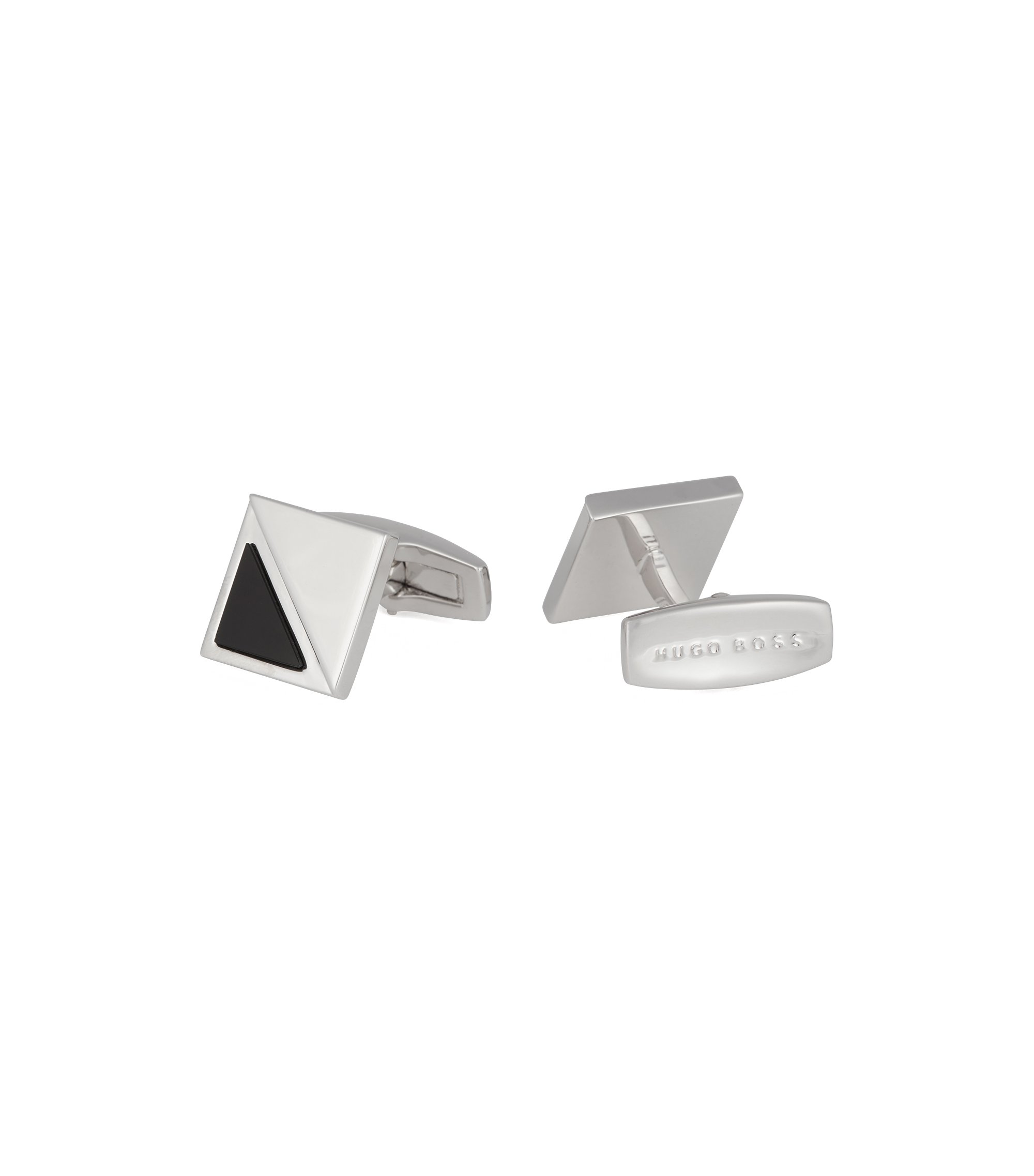 German-made square cufflinks with black-onyx detail, Black
