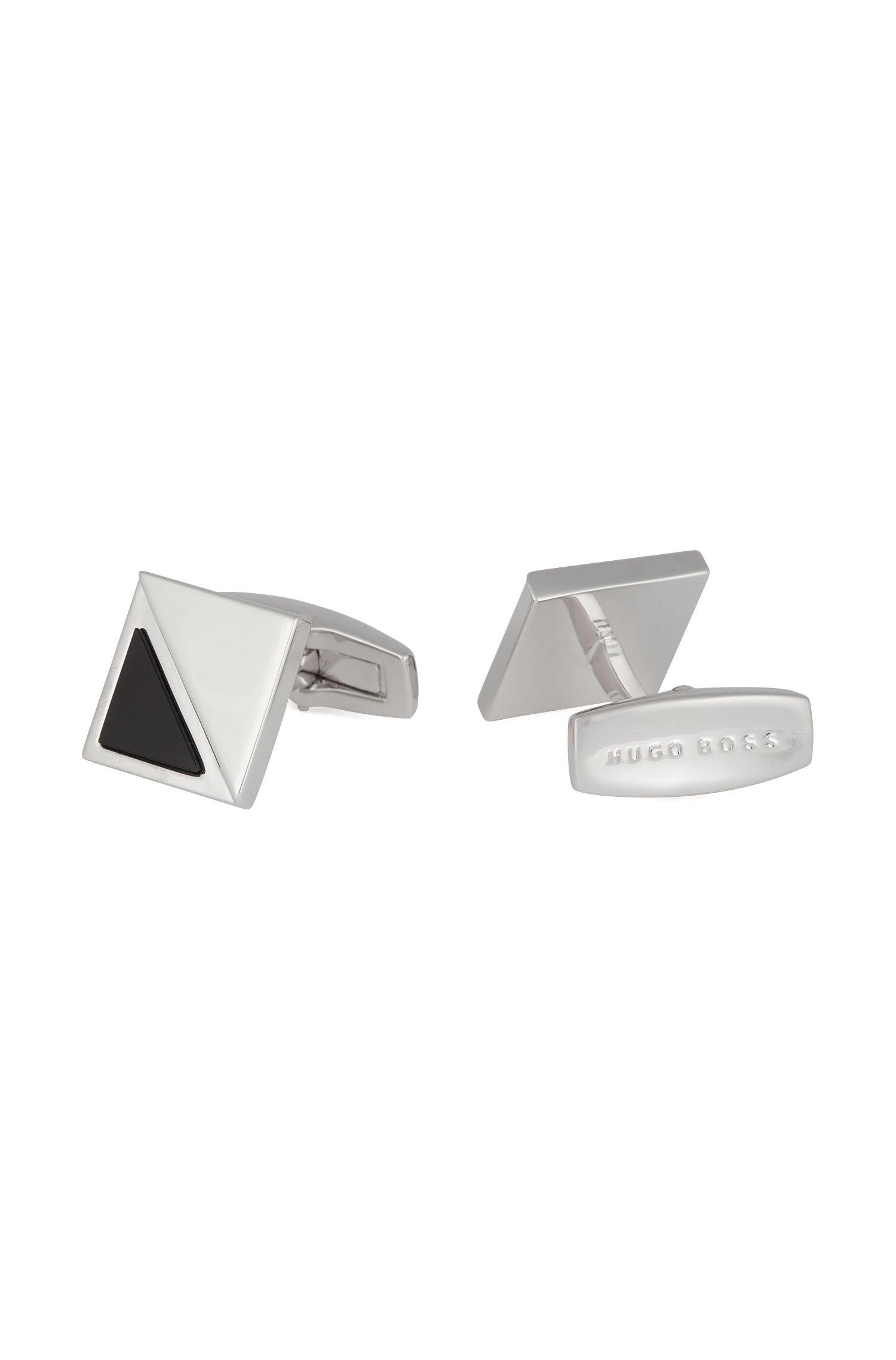 German-made square cufflinks with black-onyx detail, Black
