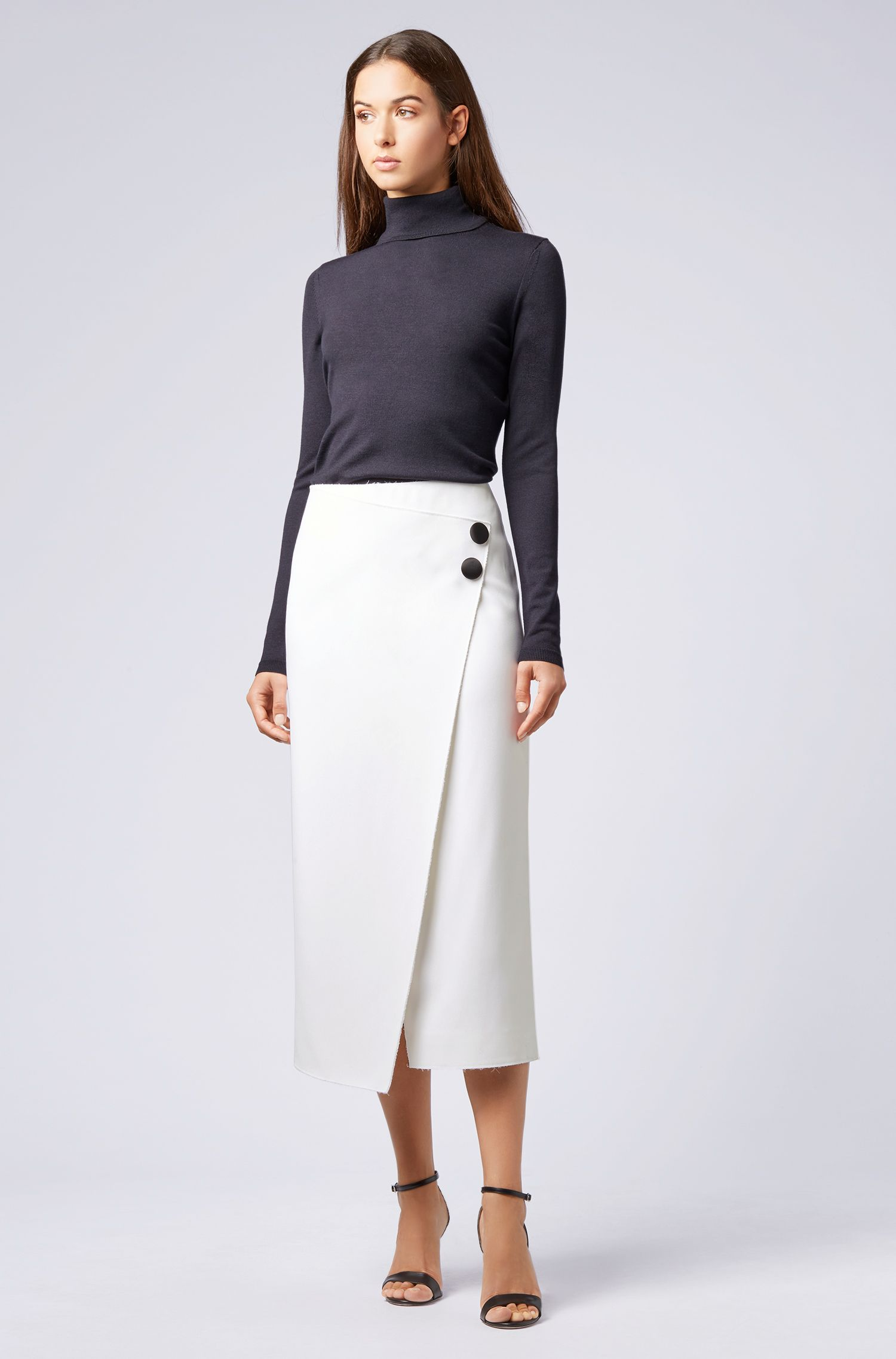Galley Collection asymmetric pencil skirt in heavy crepe, Natural