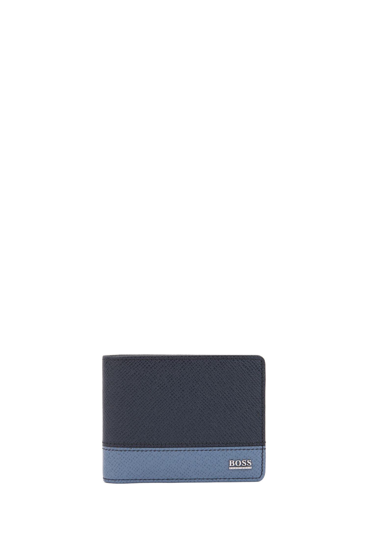 Signature Collection color-block wallet in palmellato leather, Dark Blue