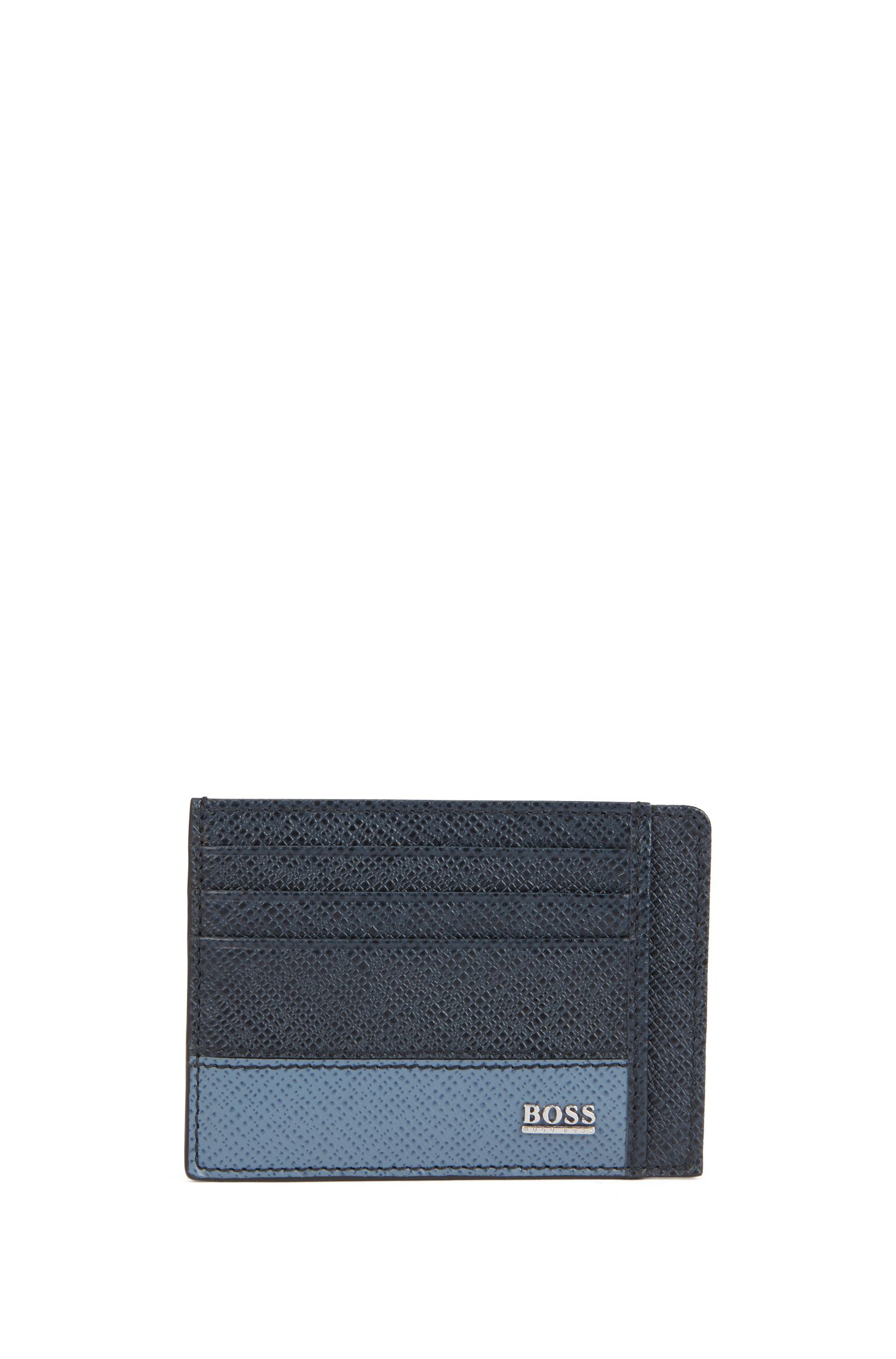 Signature Collection card case in printed palmellato leather, Dark Blue