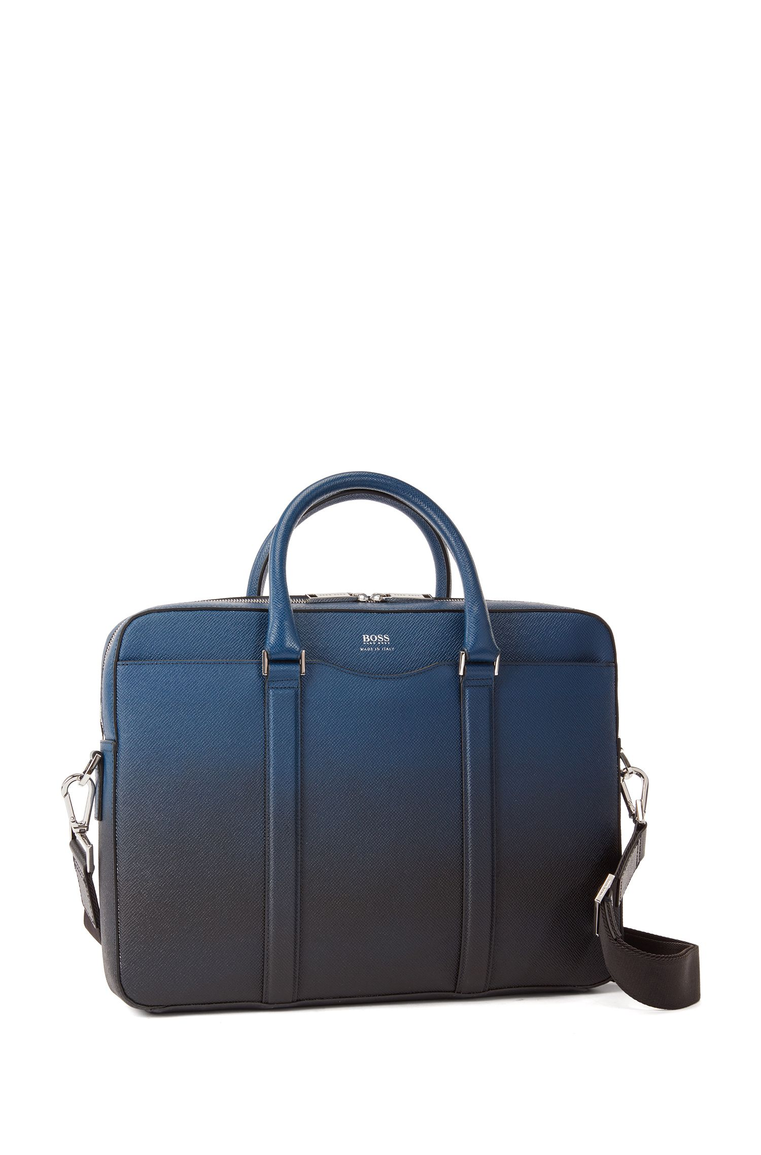 Signature Collection bag in dégradé palmellato leather, Dark Blue