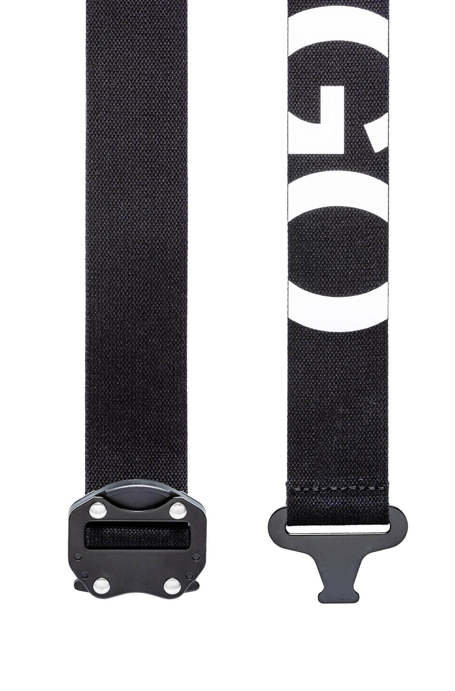 Reverse-logo belt in Italian cotton with gunmetal closure, Black