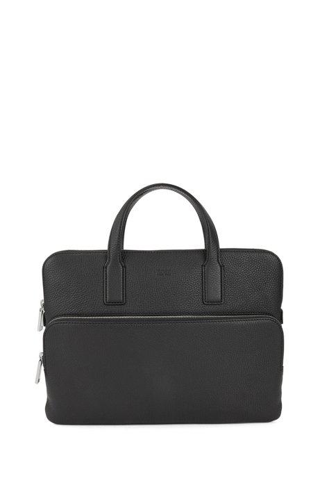 Slim document case in grainy Italian leather, Black