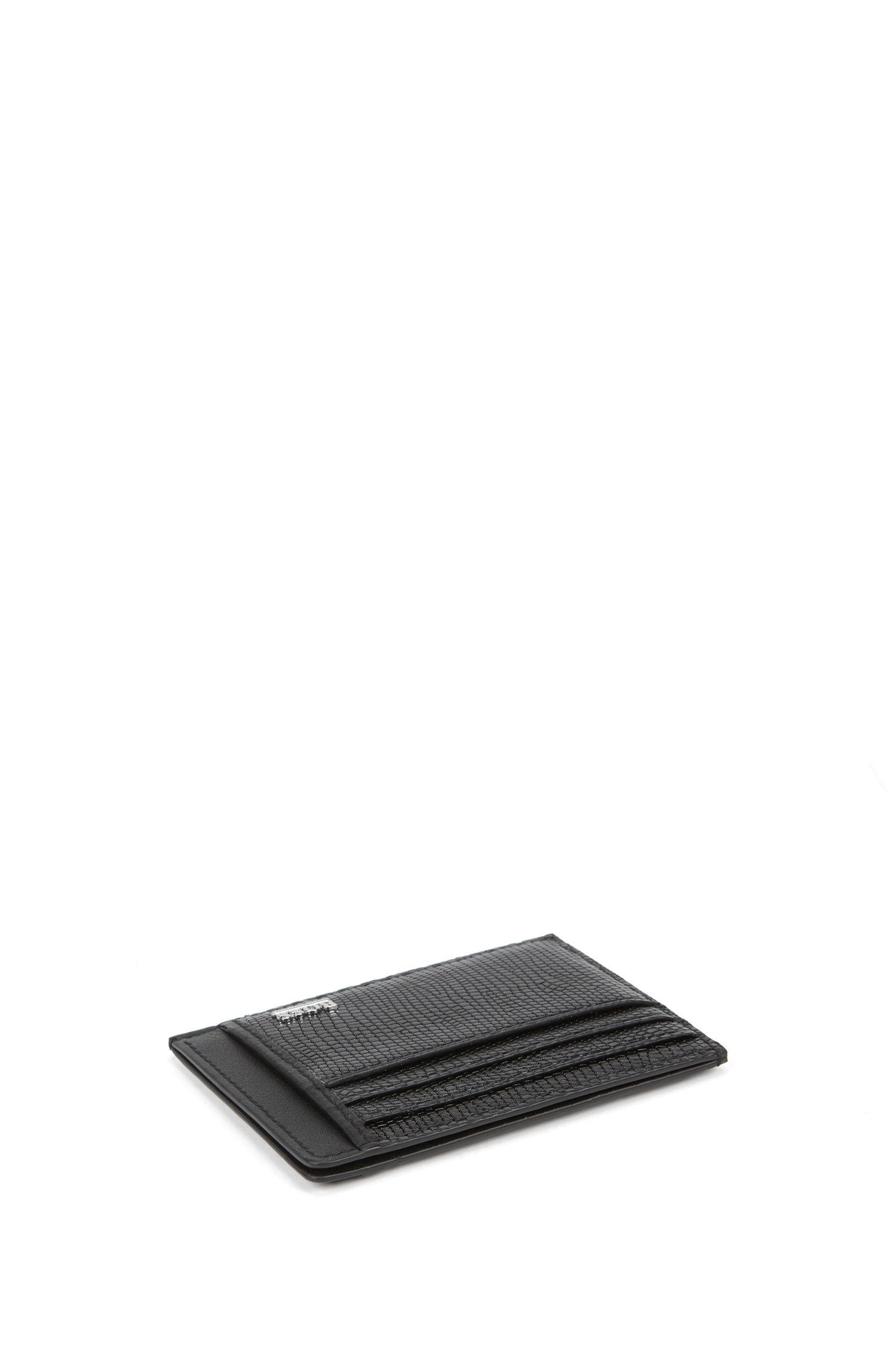 Six-slot card case in lizard-print calf leather, Black
