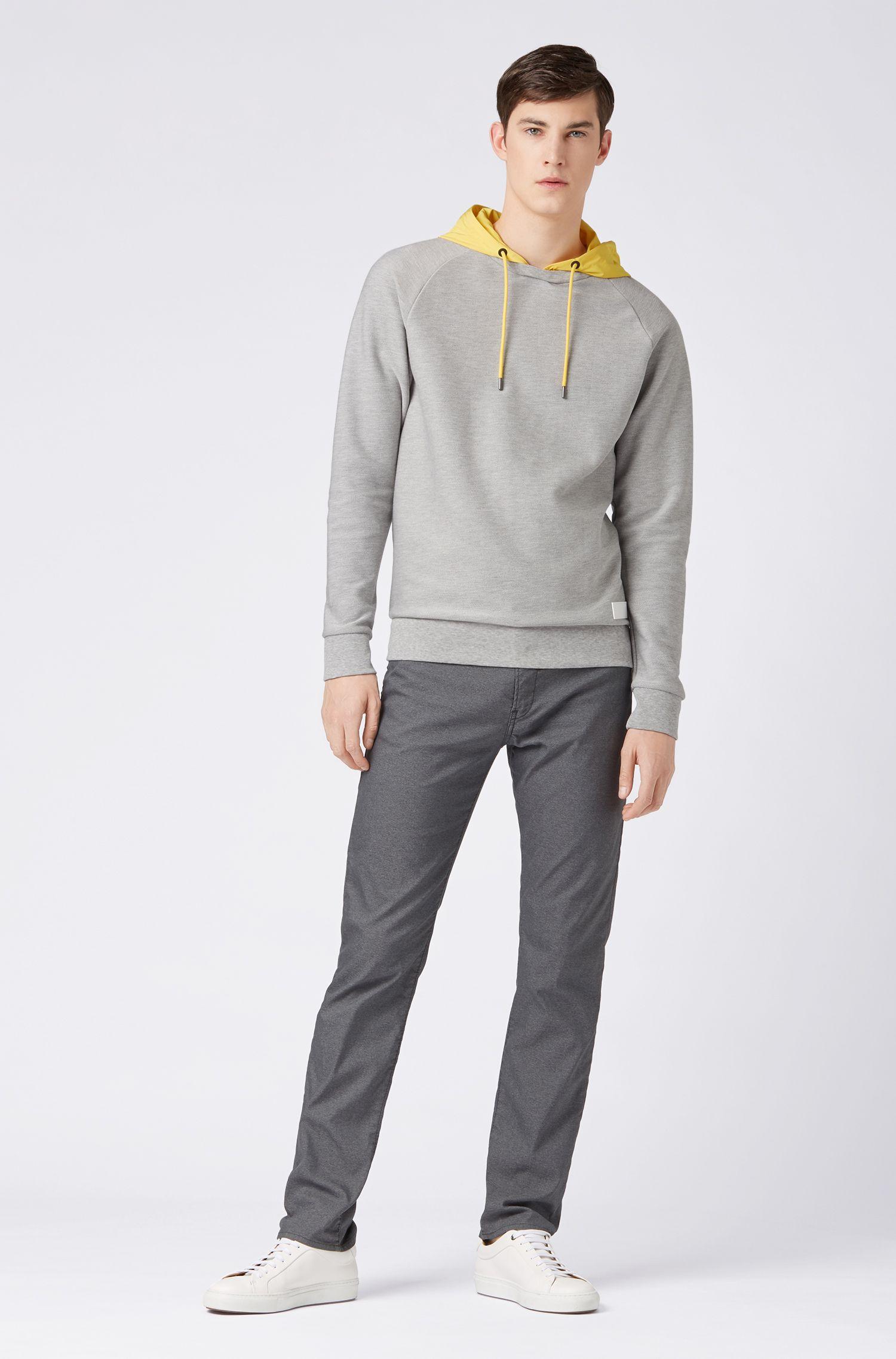 Hybrid sweatshirt with contrast detachable hood, Open Grey