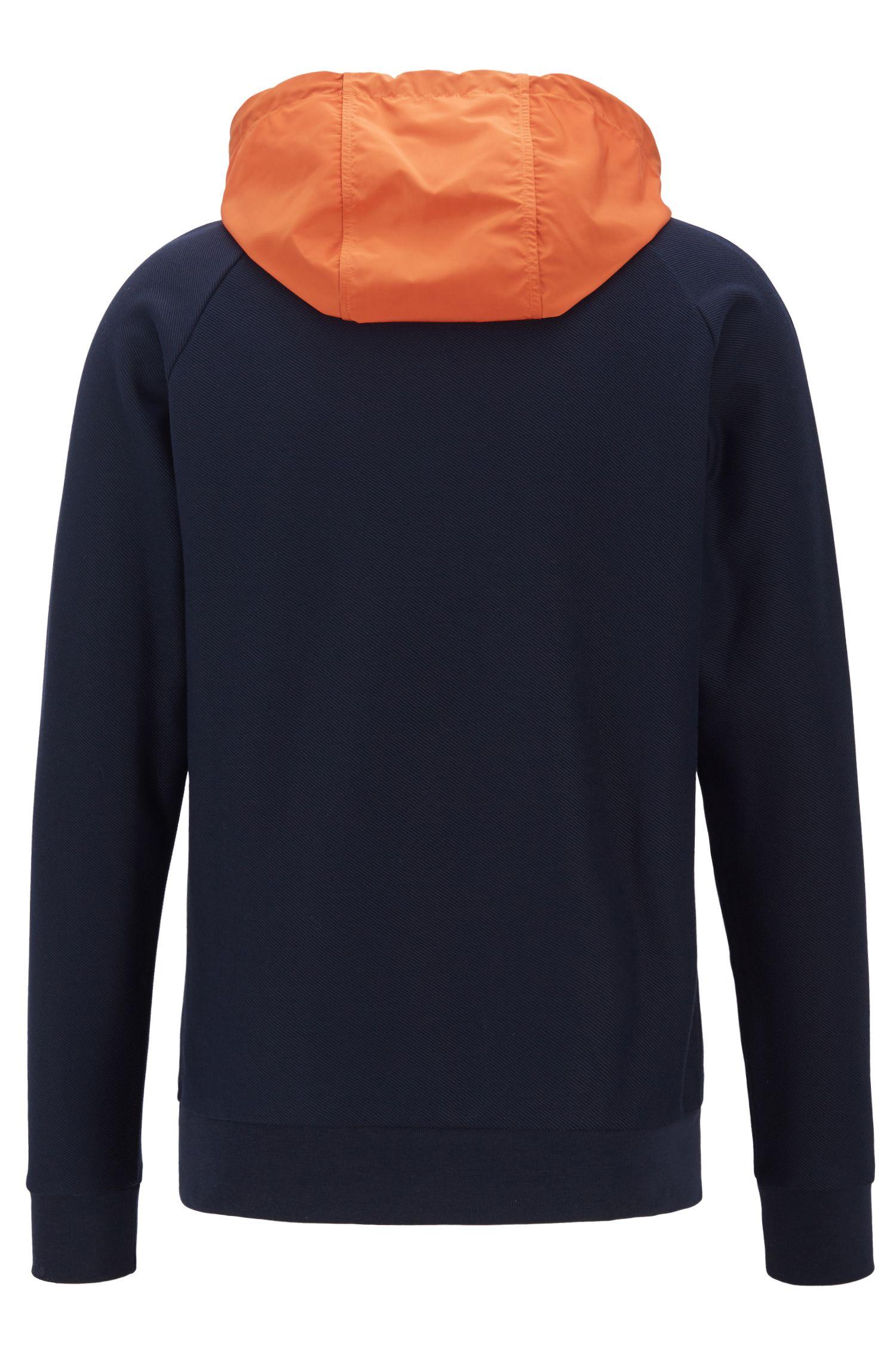 Hybrid sweatshirt with contrast detachable hood, Dark Blue