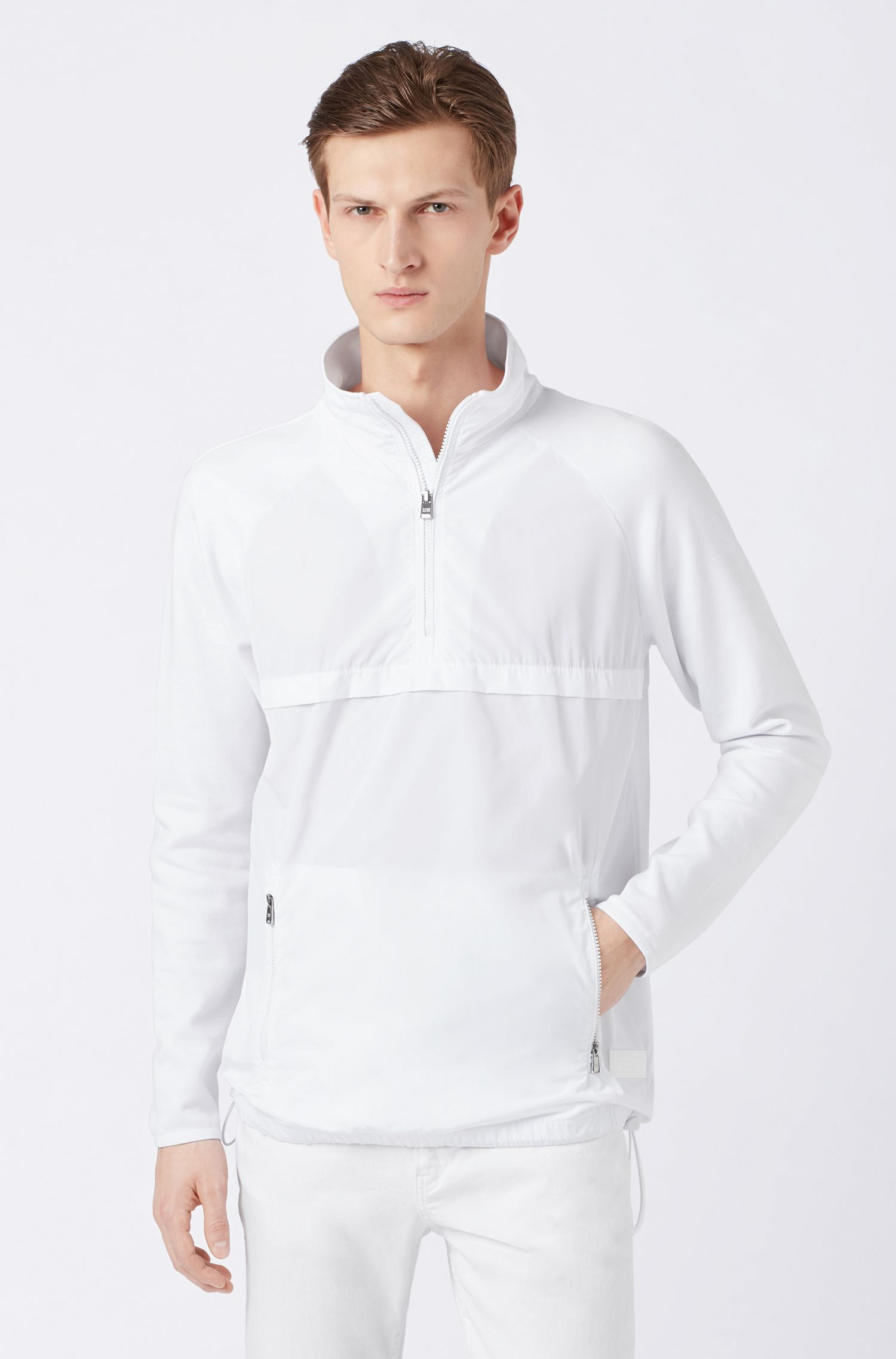 Quarter-zipper windbreaker in jersey with technical-fabric panels, White