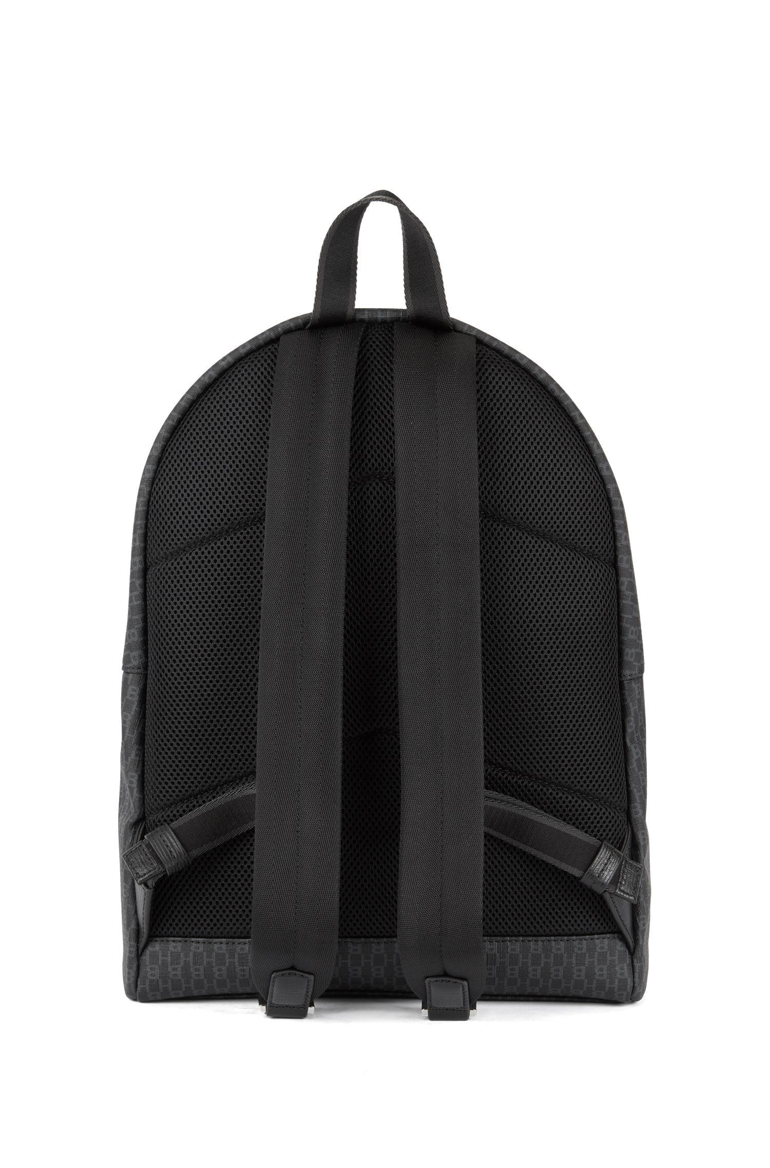 Monogram-print backpack in coated Italian fabric, Black