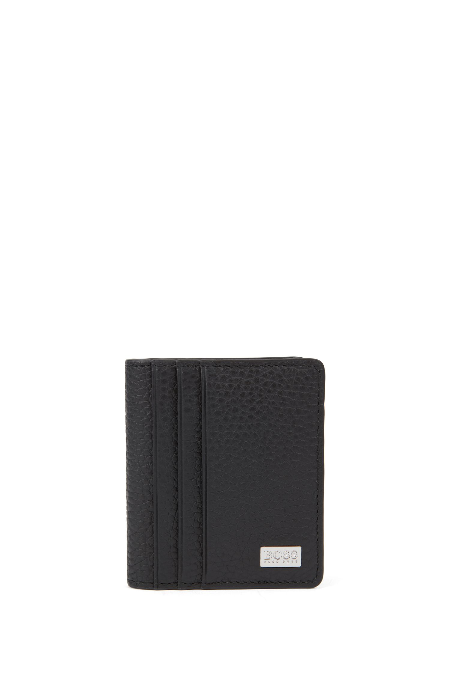 Bi-fold card case in grainy Italian leather, Black