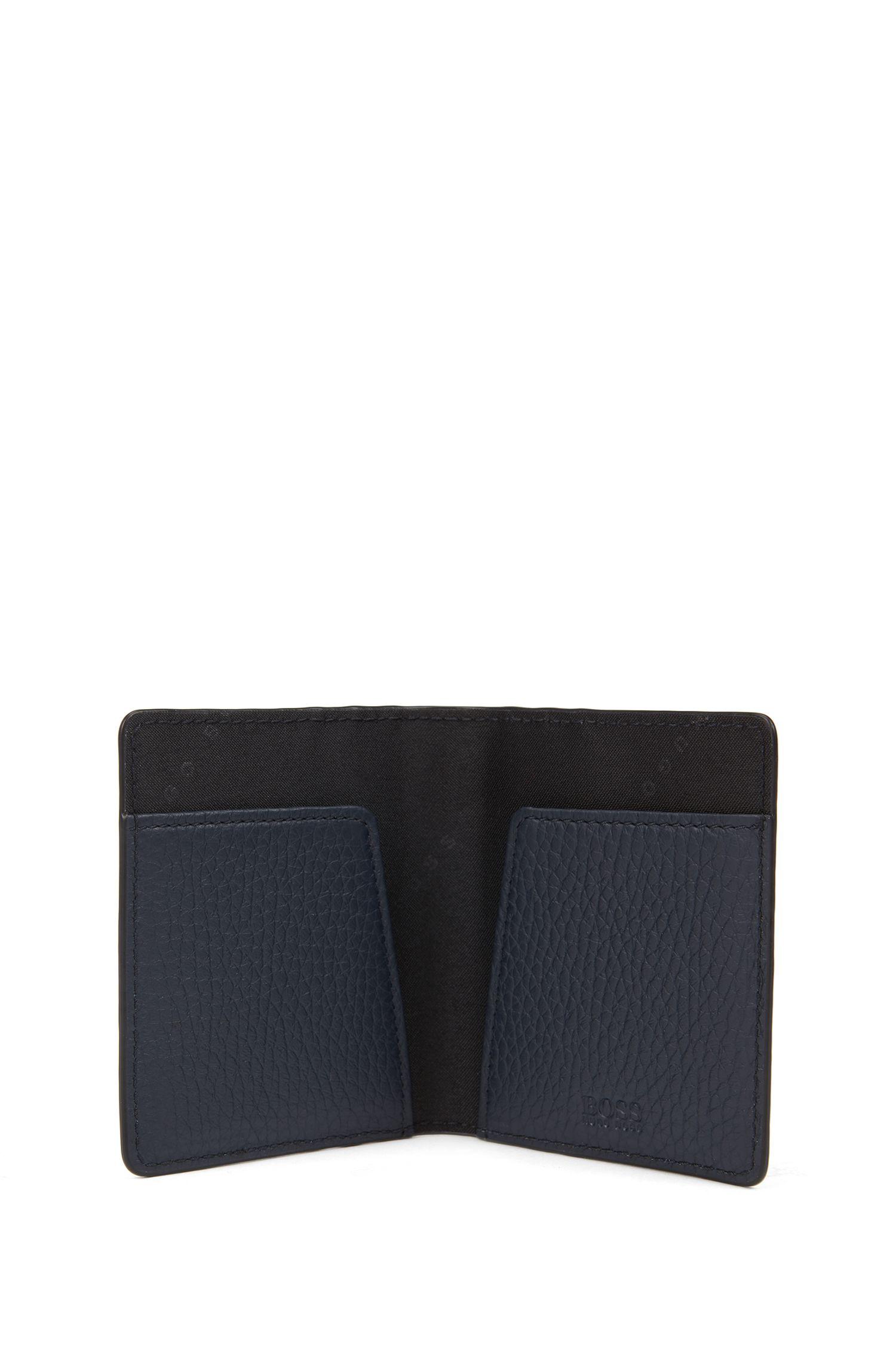 Bi-fold card case in grainy Italian leather, Dark Blue