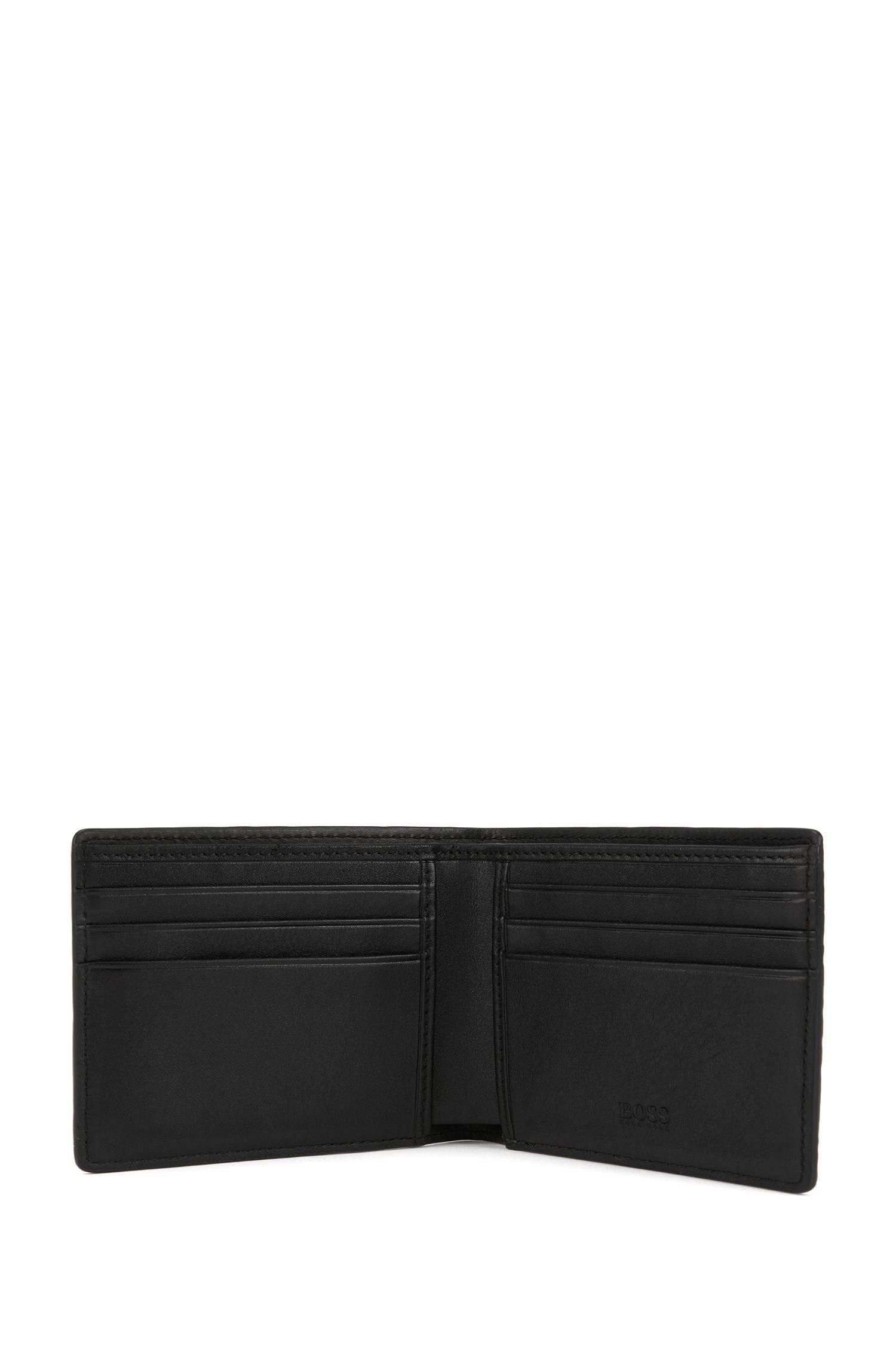 Billfold wallet in Italian calf leather with lizard print, Black