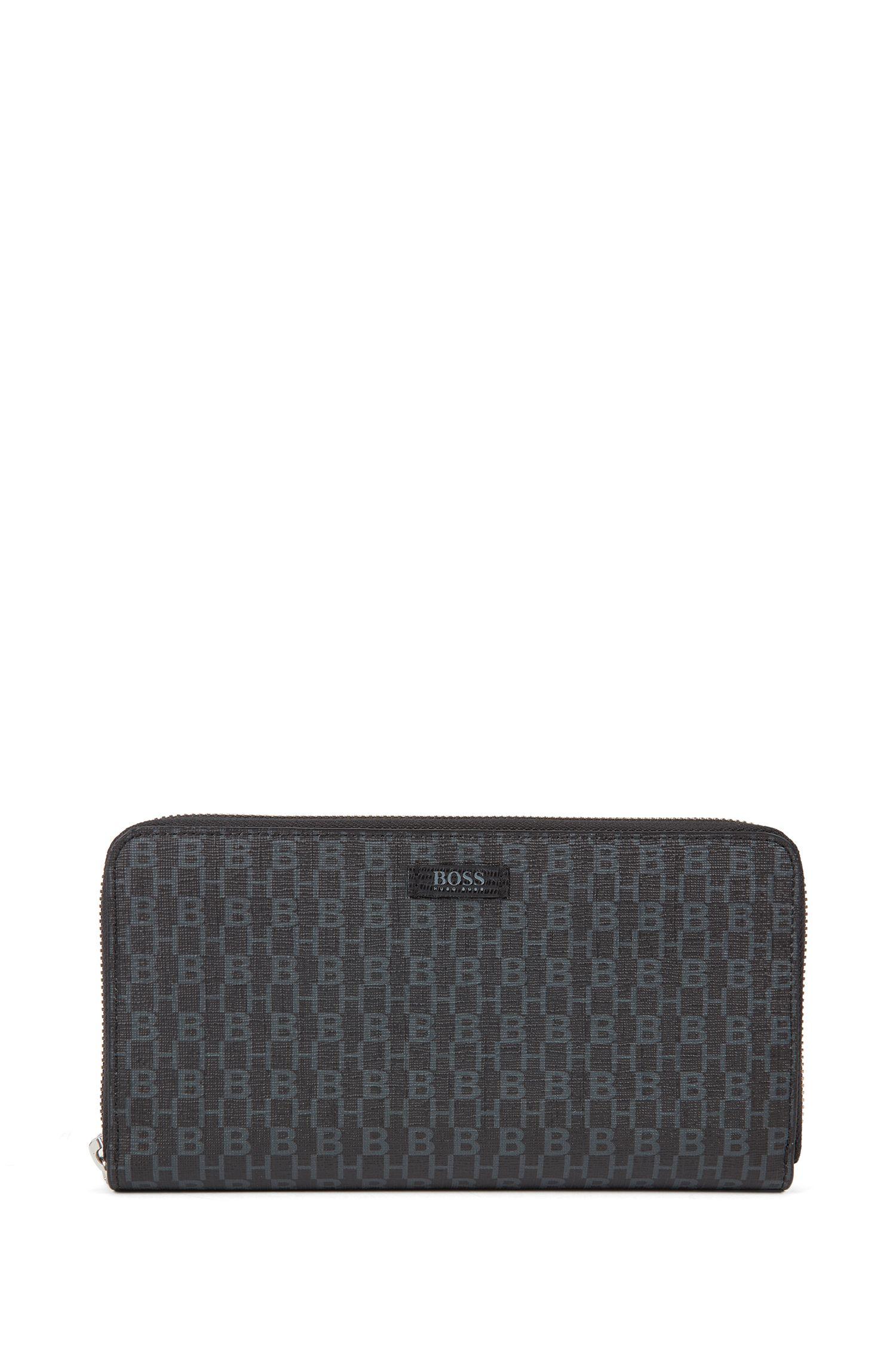Ziparound wallet in Italian fabric with monogram print, Black