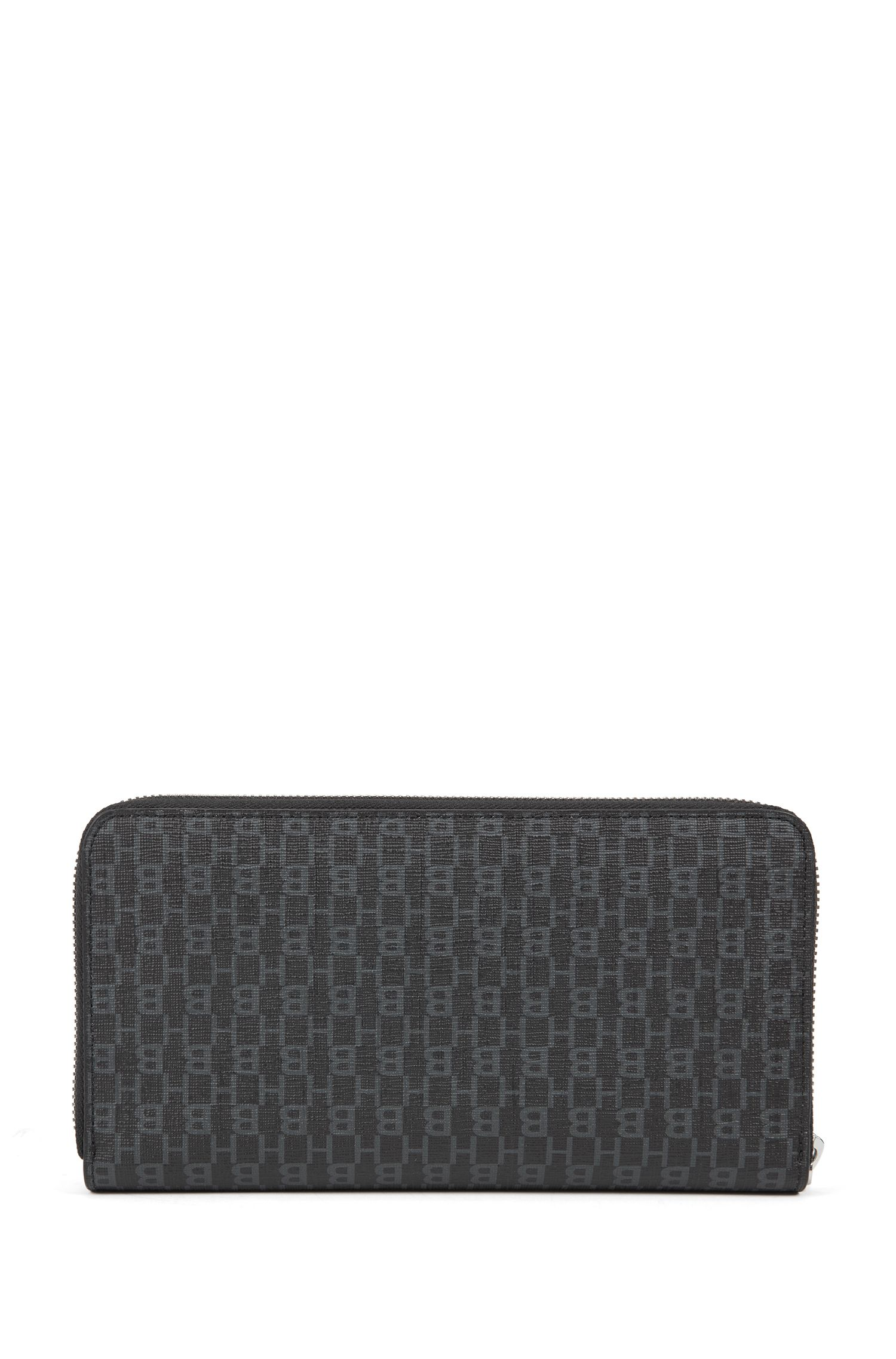 Ziparound wallet in Italian fabric with monogram print, Black