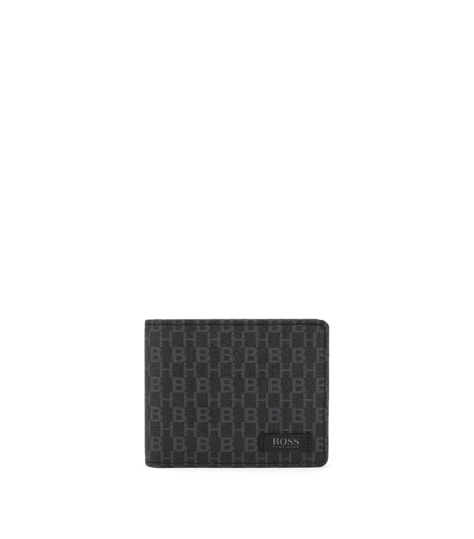 Six-card billfold wallet in monogram-printed Italian fabric, Black