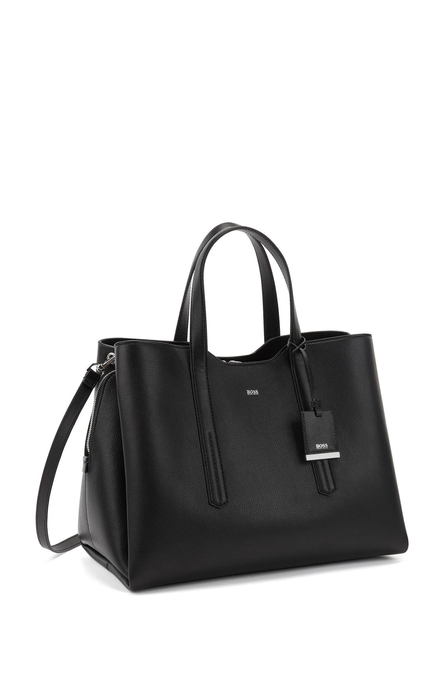 Soft tote bag in grainy Italian leather, Black