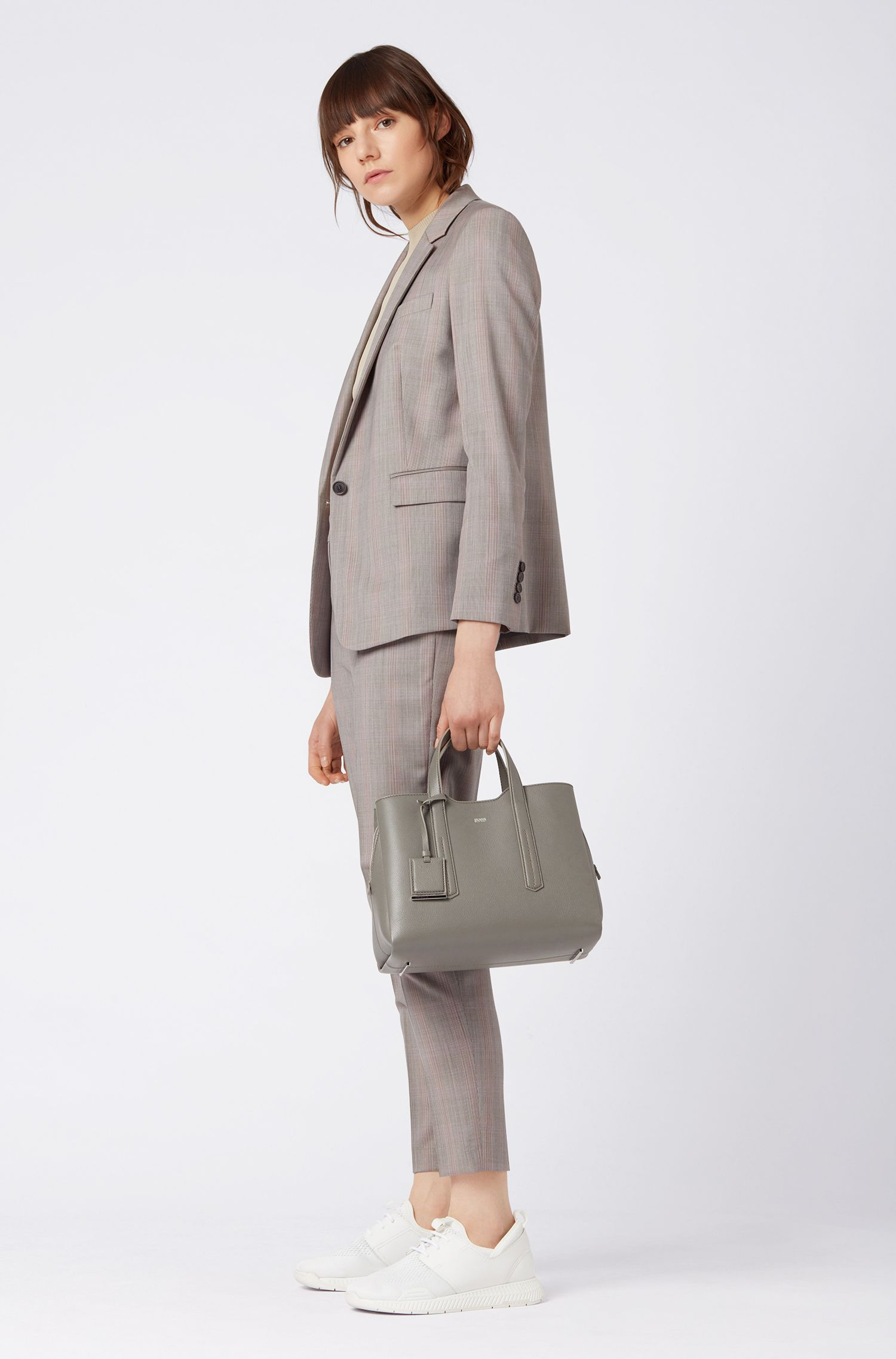 Tote bag in softly structured grainy Italian leather, Open Grey
