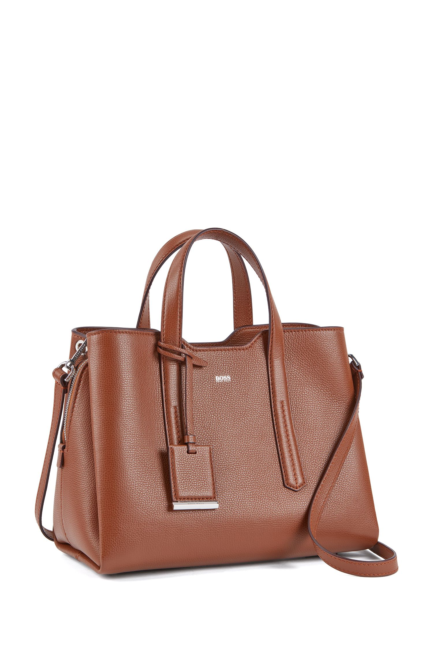 Tote bag in softly structured grainy Italian leather, Light Brown