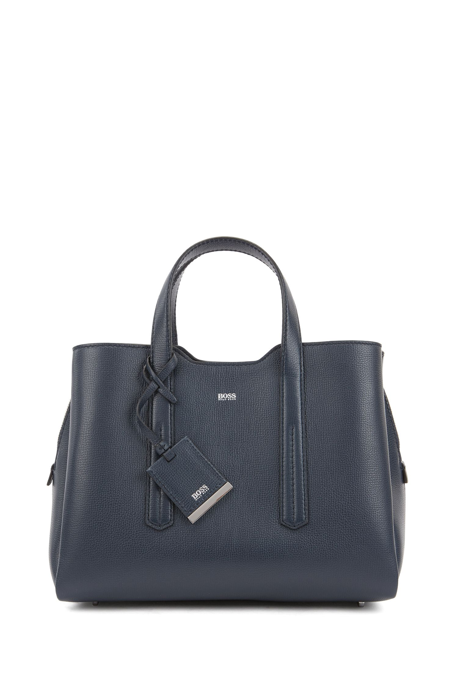 Tote bag in softly structured grainy Italian leather, Dark Blue