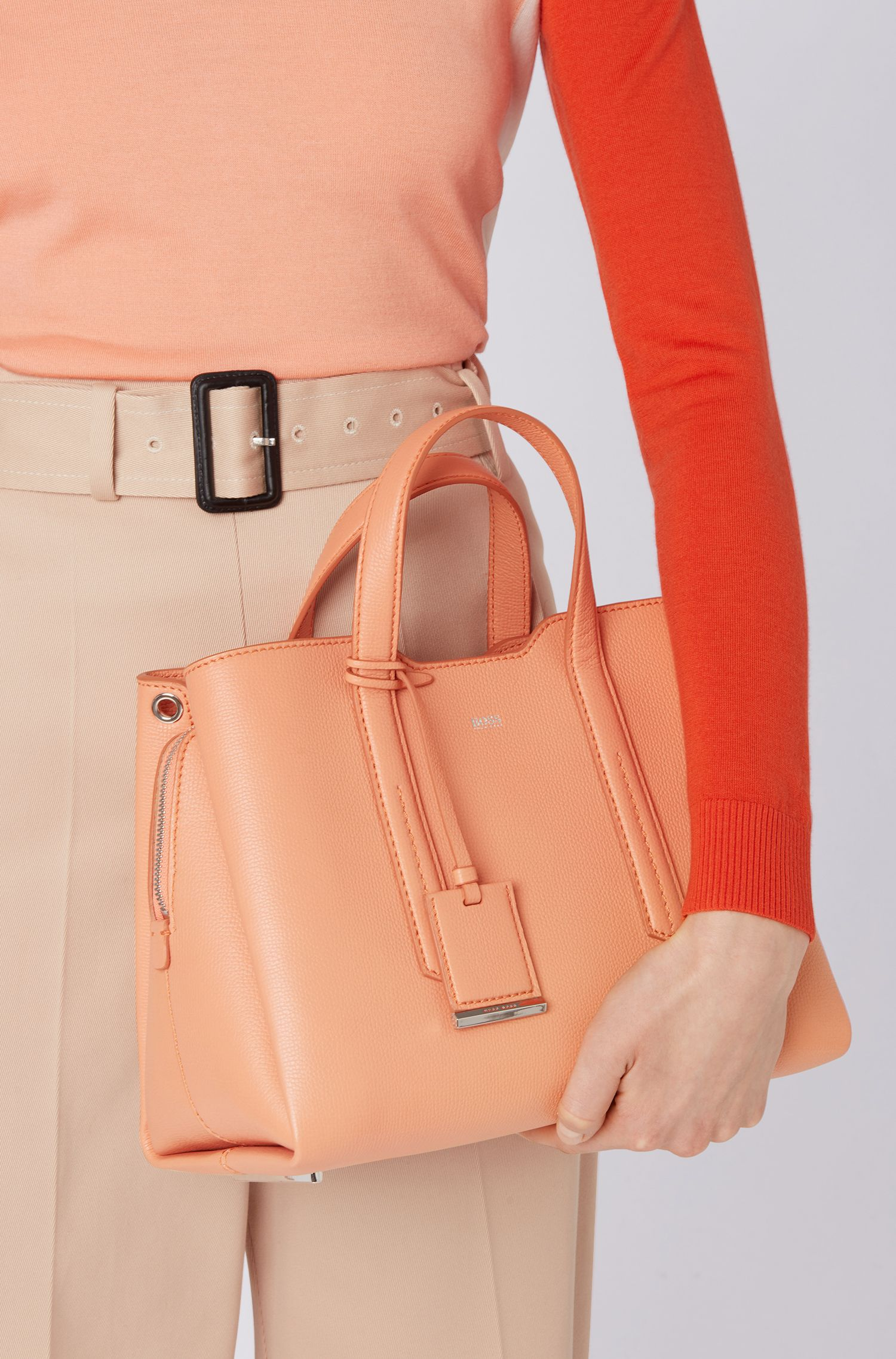 Tote bag in softly structured grainy Italian leather, Orange