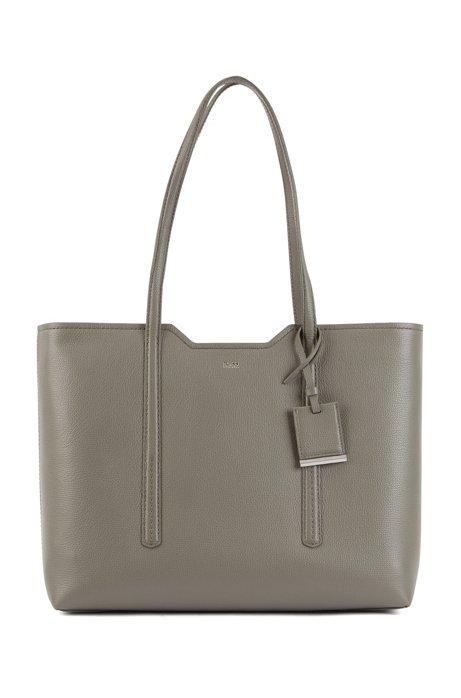 Shopper bag in grained Italian leather, Open Grey