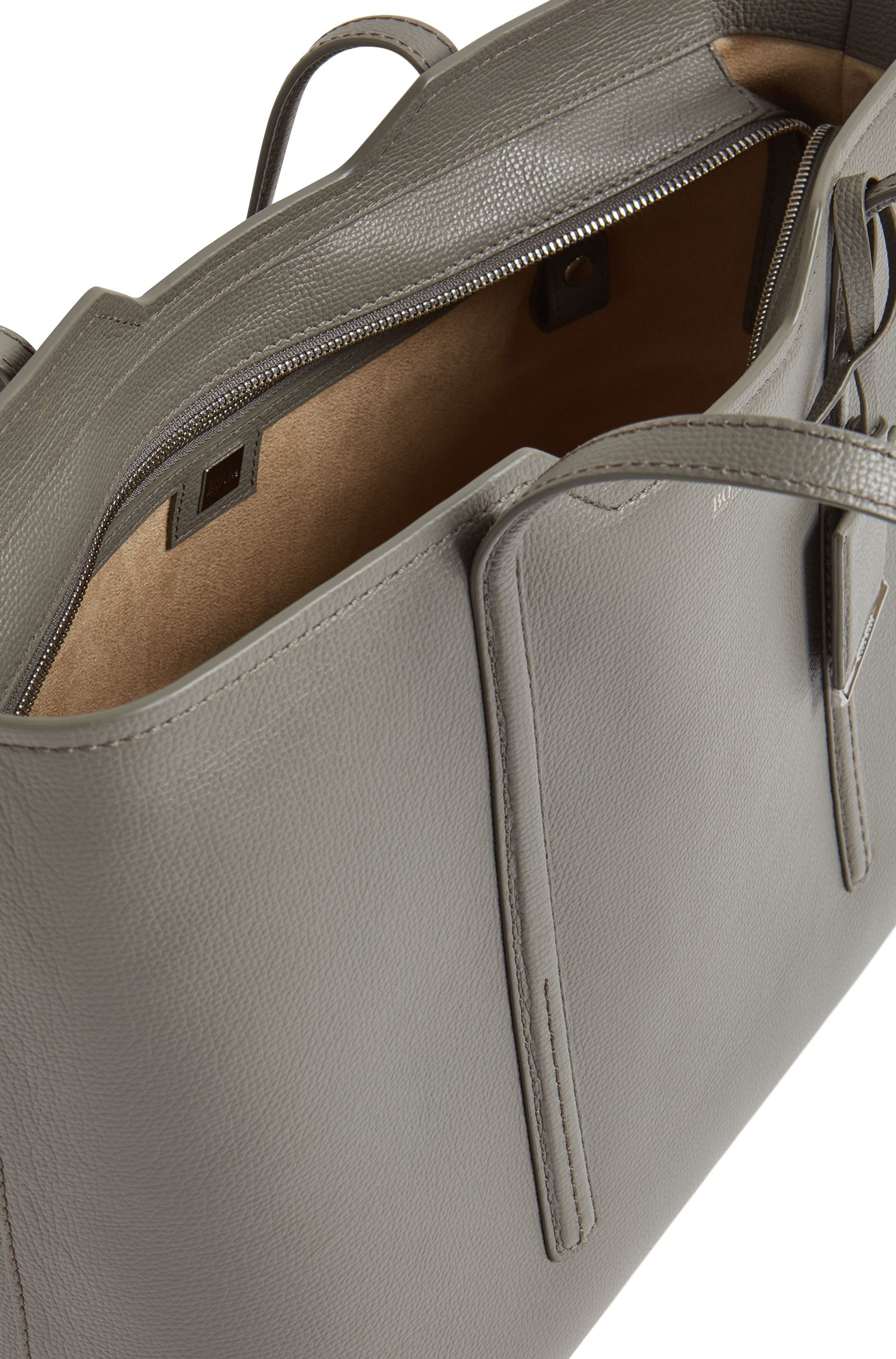 Shopper bag in grained Italian leather, Open Grey