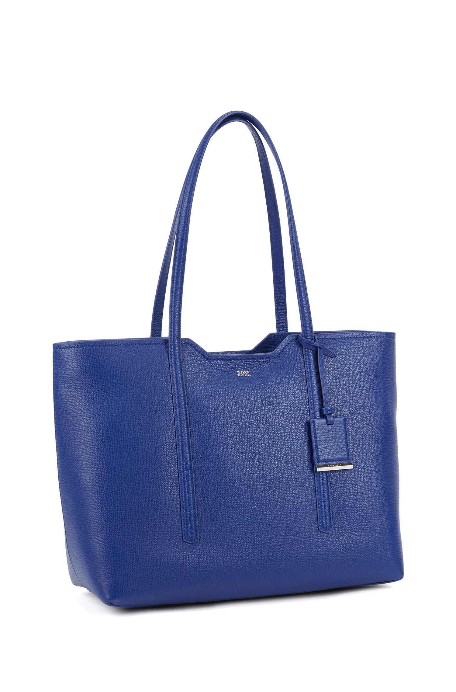 Shopper bag in grained Italian leather, Blue