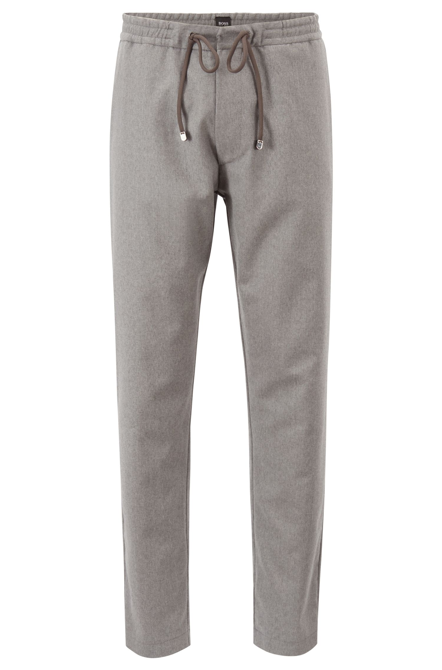 Relaxed-fit pants in virgin-wool flannel, Grey
