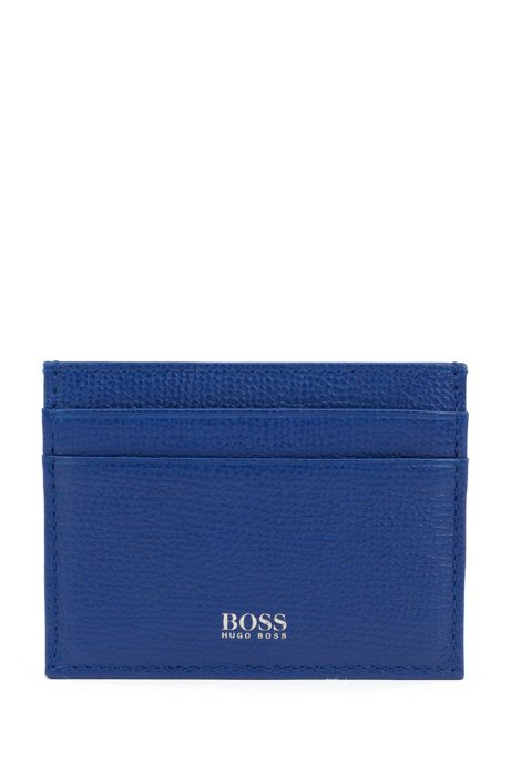 Card holder in grained Italian leather, Blue