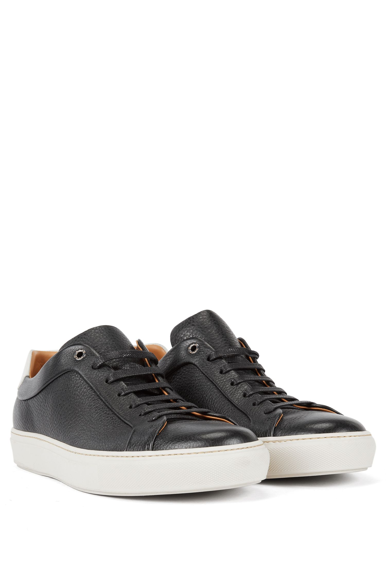 Tennis-style sneakers in grainy calf leather, Black