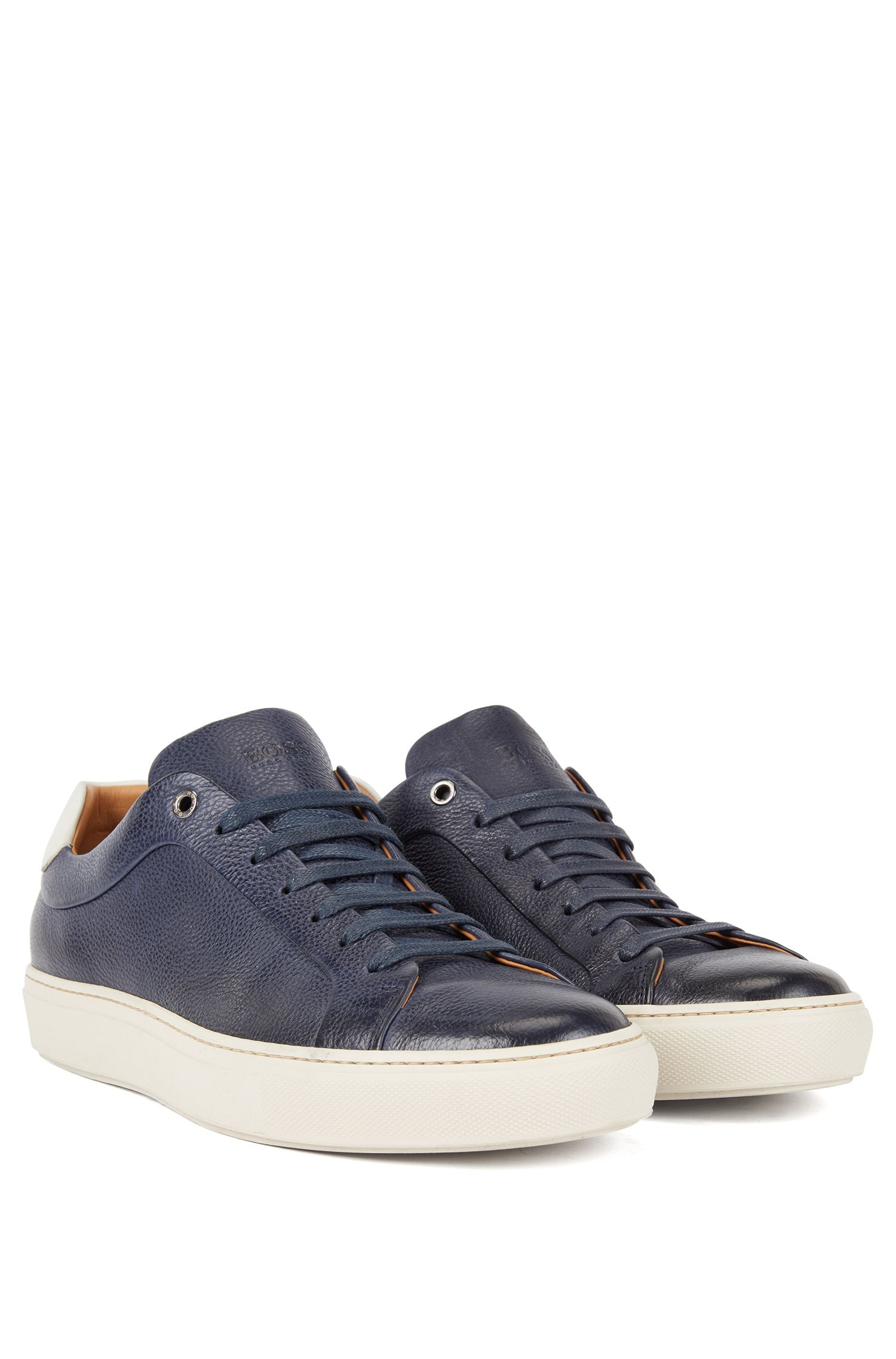 Tennis-style sneakers in grainy calf leather, Dark Blue