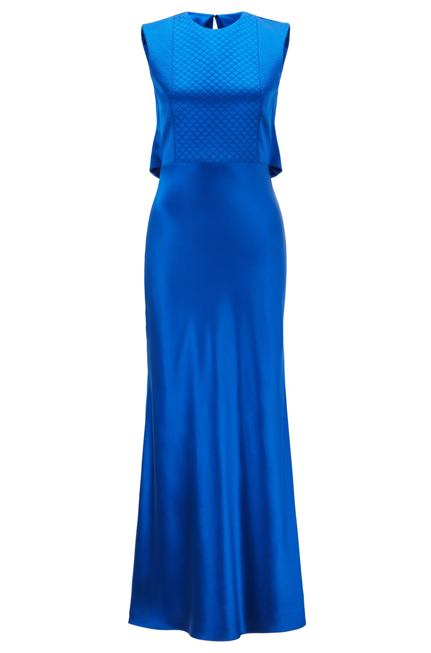 Gallery Collection bias-cut dress in lustrous crepe, Blue