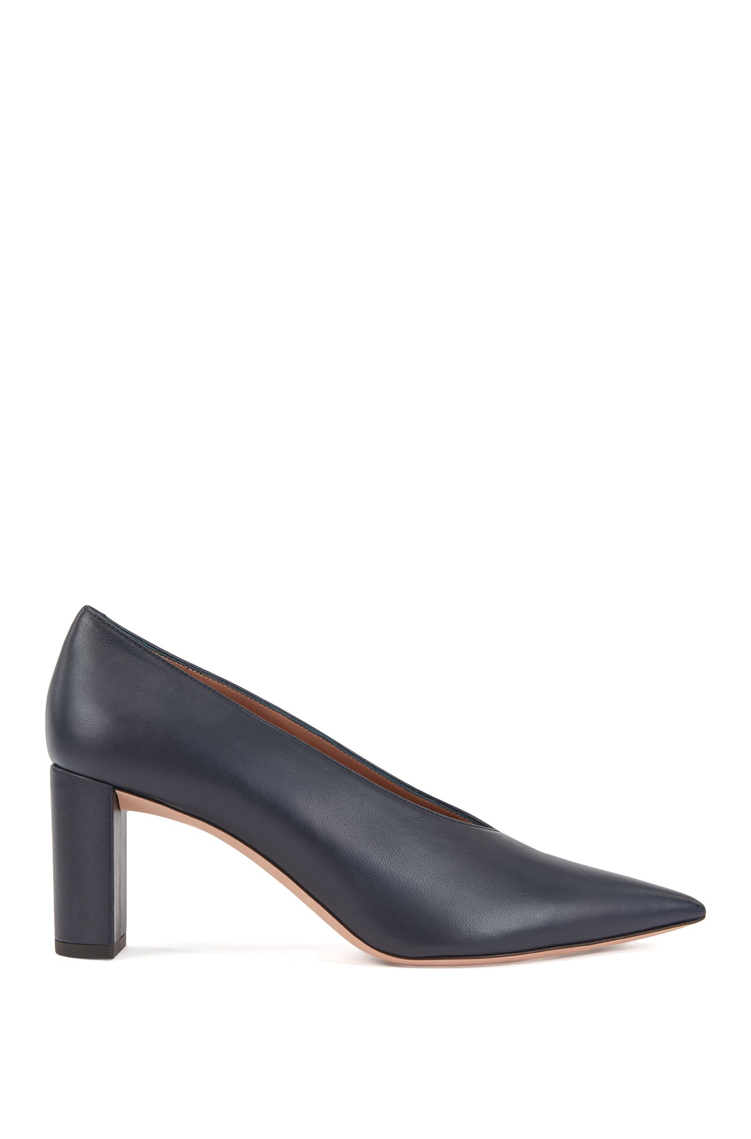 Lambskin leather pumps with V-cut vamps, Dark Blue