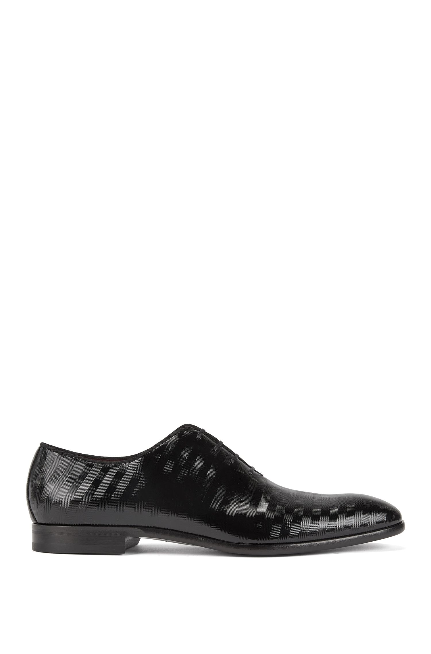 Italian-made Oxford shoes in patent calf leather with stripes detail, Black