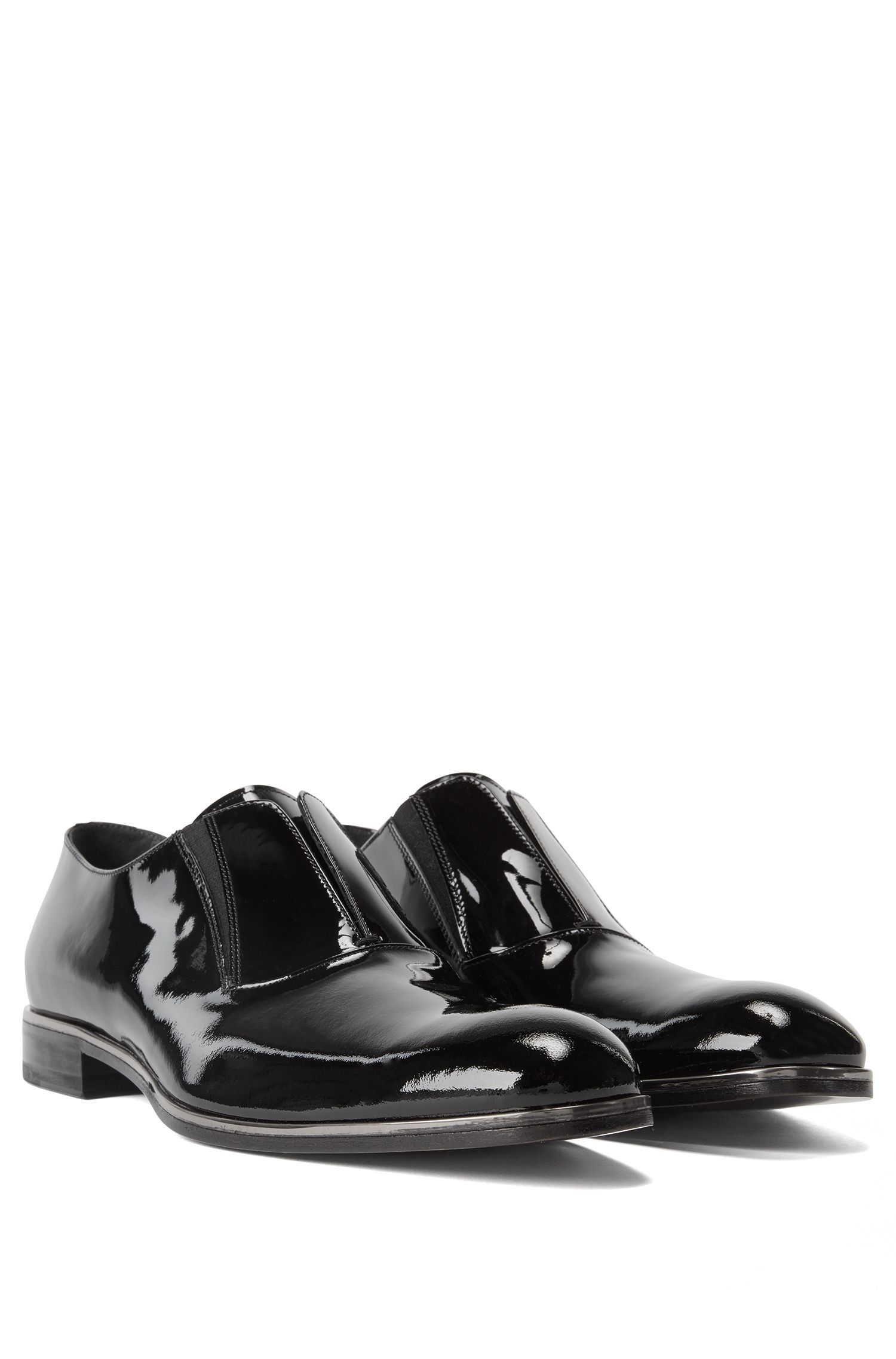 Slip-on business shoes in patent calf leather, Black
