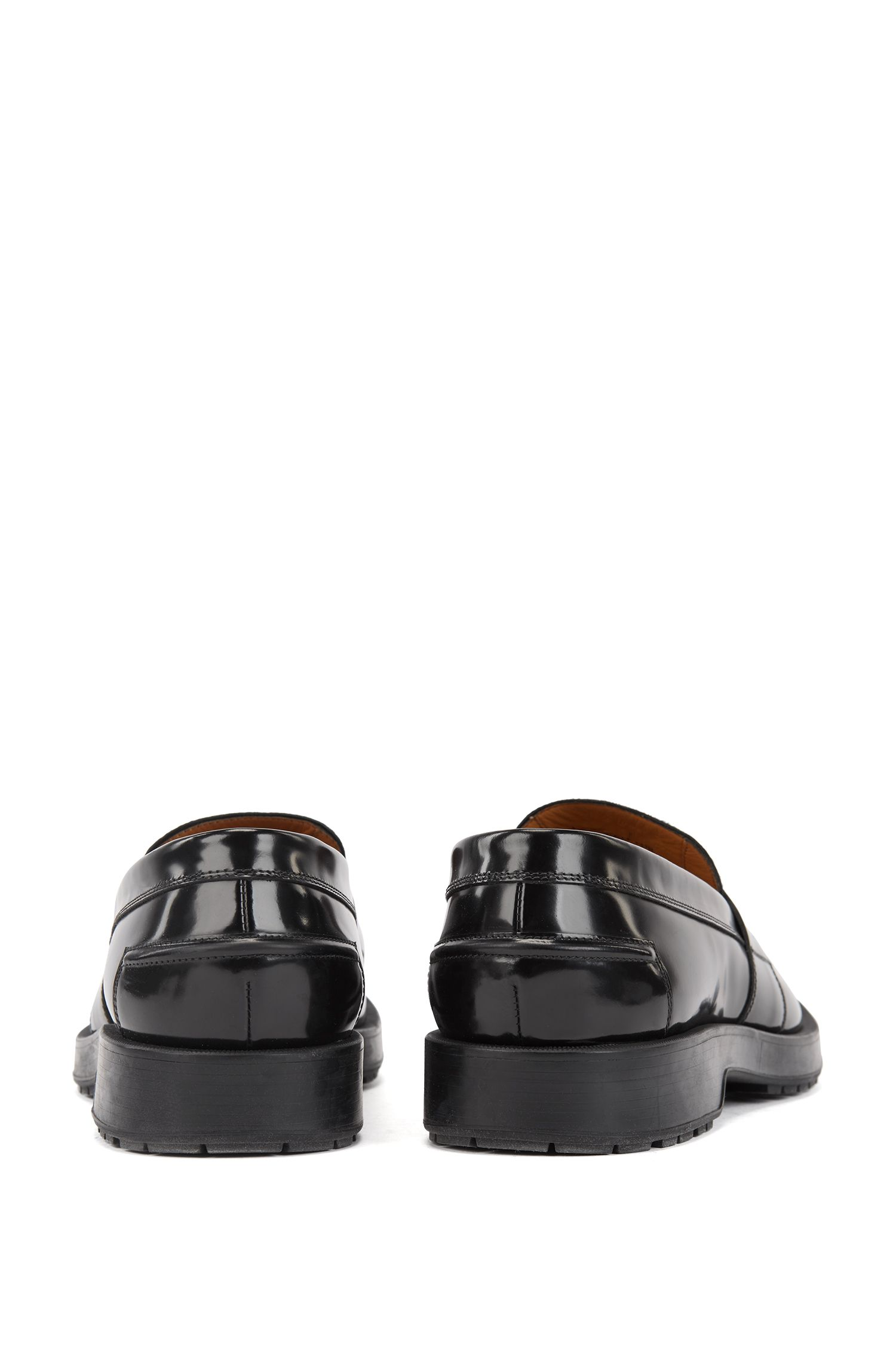Patent leather loafers with contrast calf-hair vamp, Black