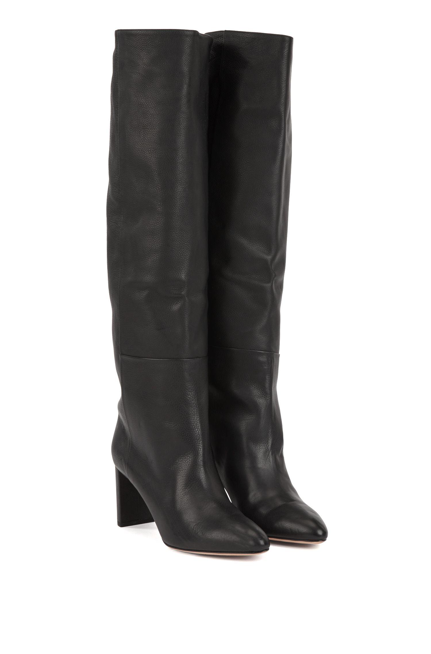 Knee-high boots in Italian calfskin, Black